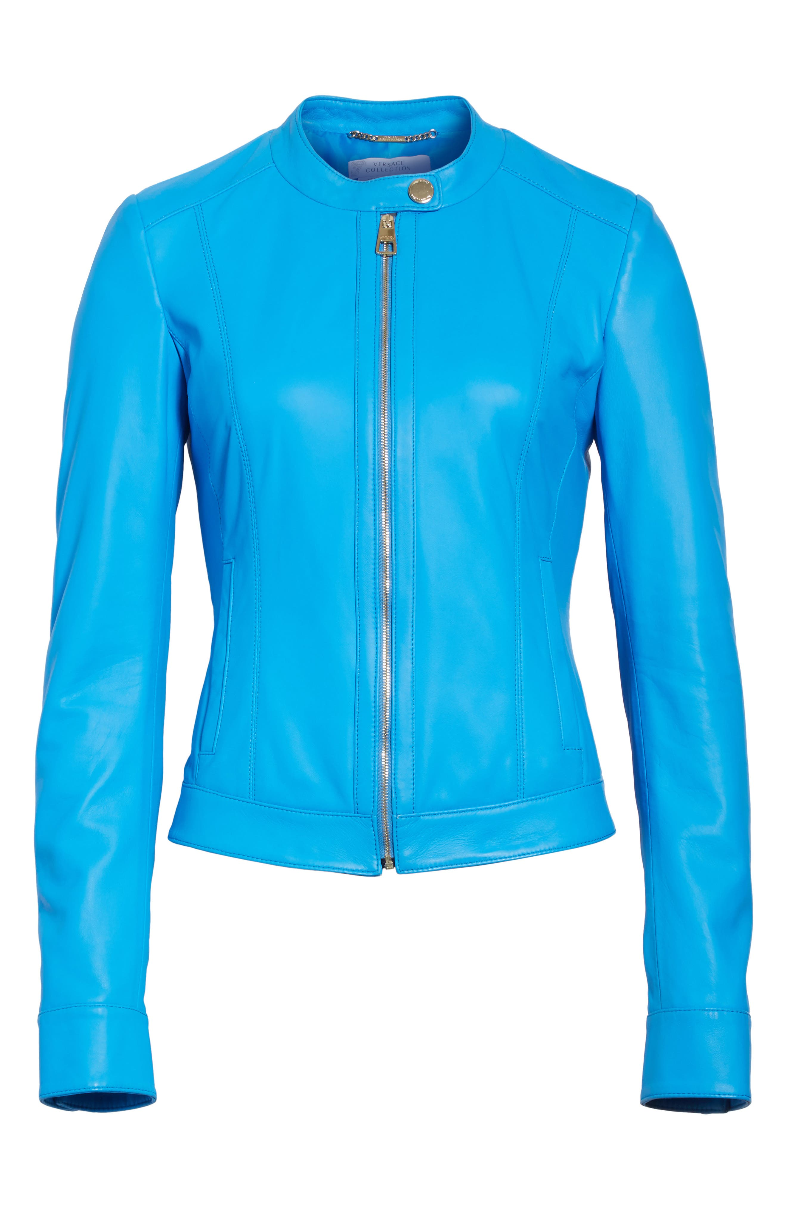 Nappa Leather Jacket,                             Alternate thumbnail 5, color,