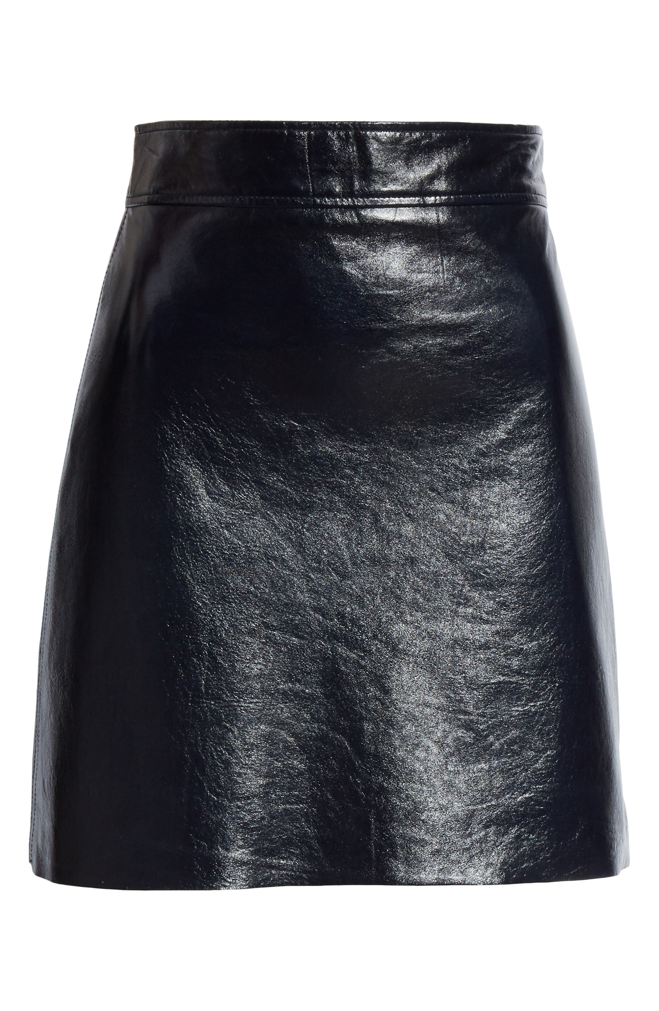 Crinkled Patent Leather Miniskirt,                             Alternate thumbnail 6, color,