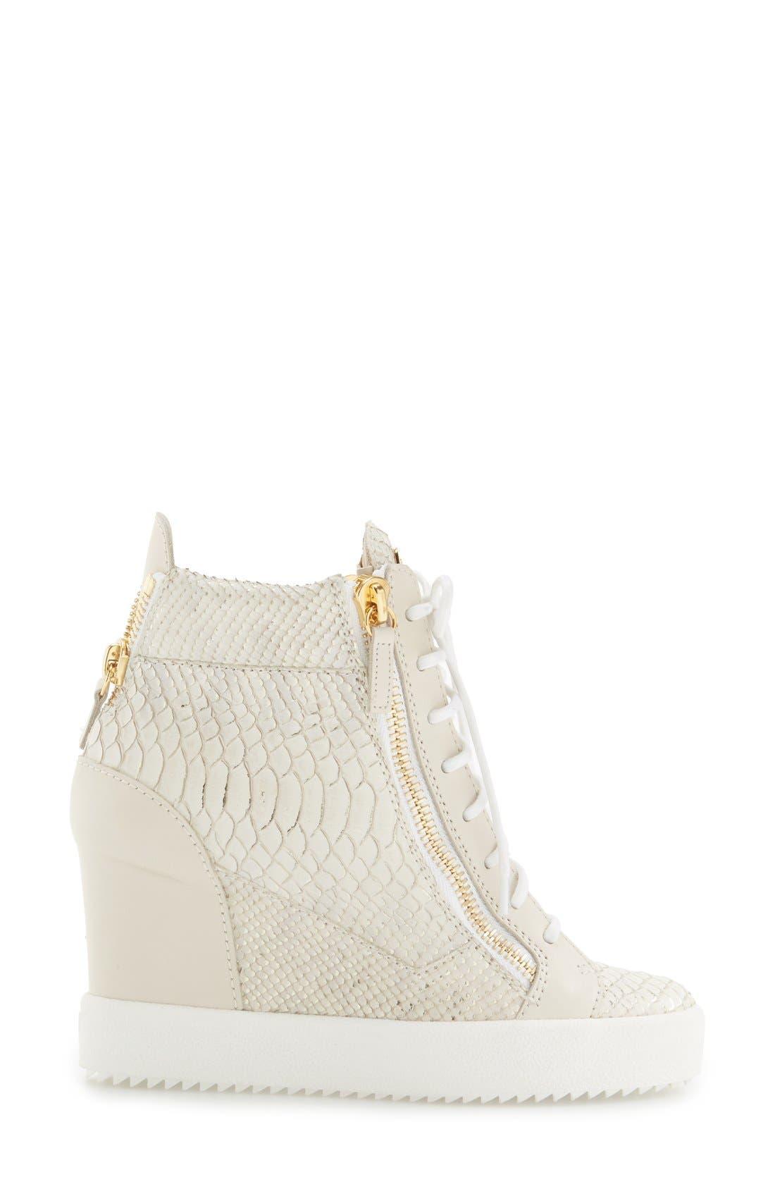 GIUSEPPE ZANOTTI,                             Ofelia Wedge Sneaker,                             Alternate thumbnail 4, color,                             040