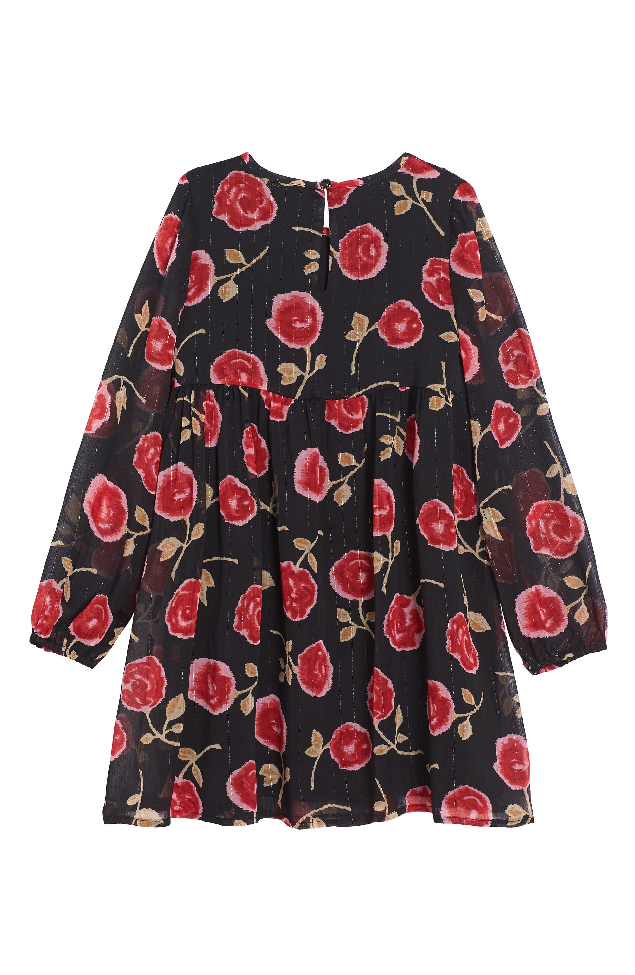 rose print chiffon dress,                             Alternate thumbnail 2, color,                             005