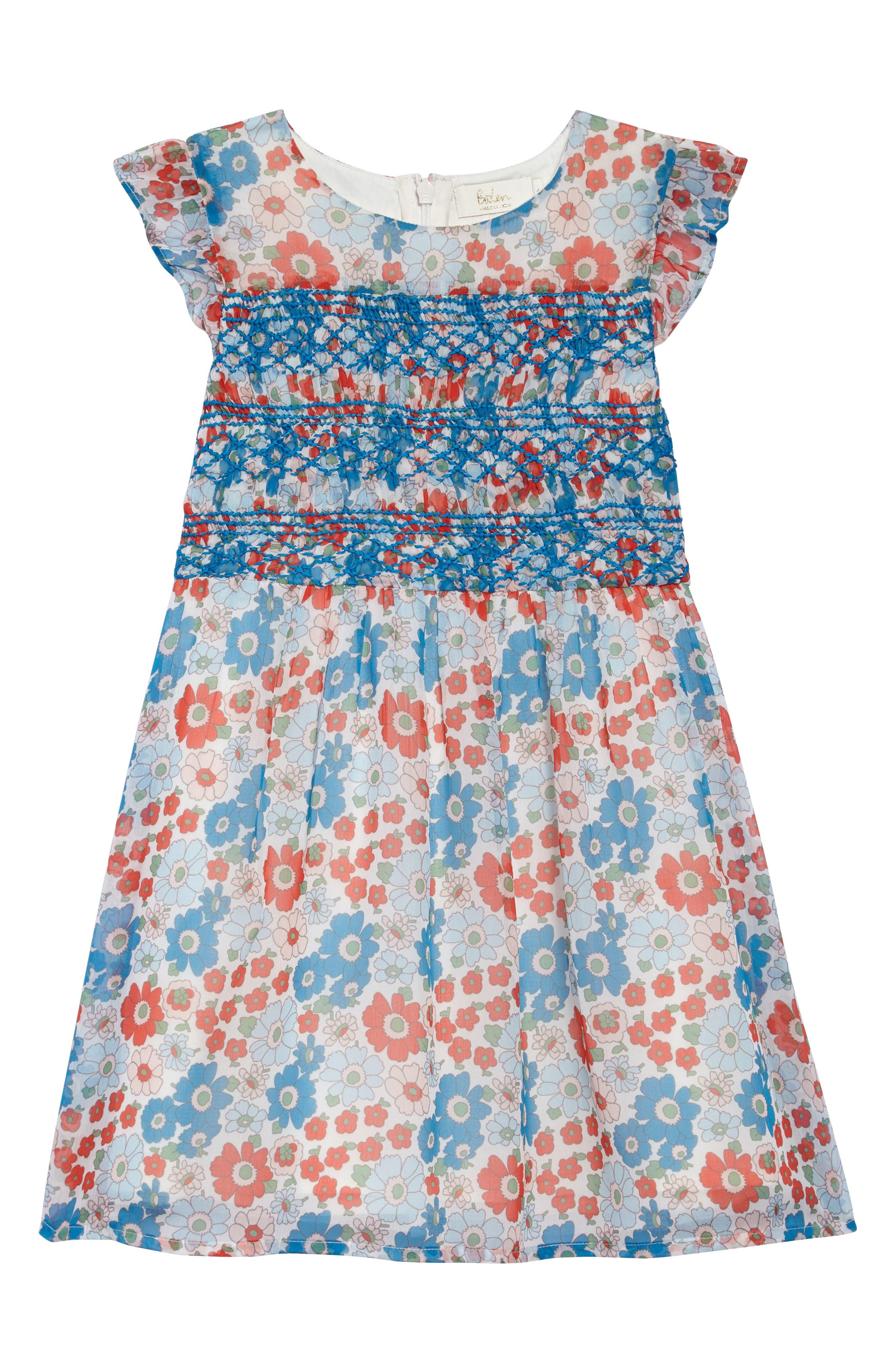 Floral Smocked Dress,                         Main,                         color, 901