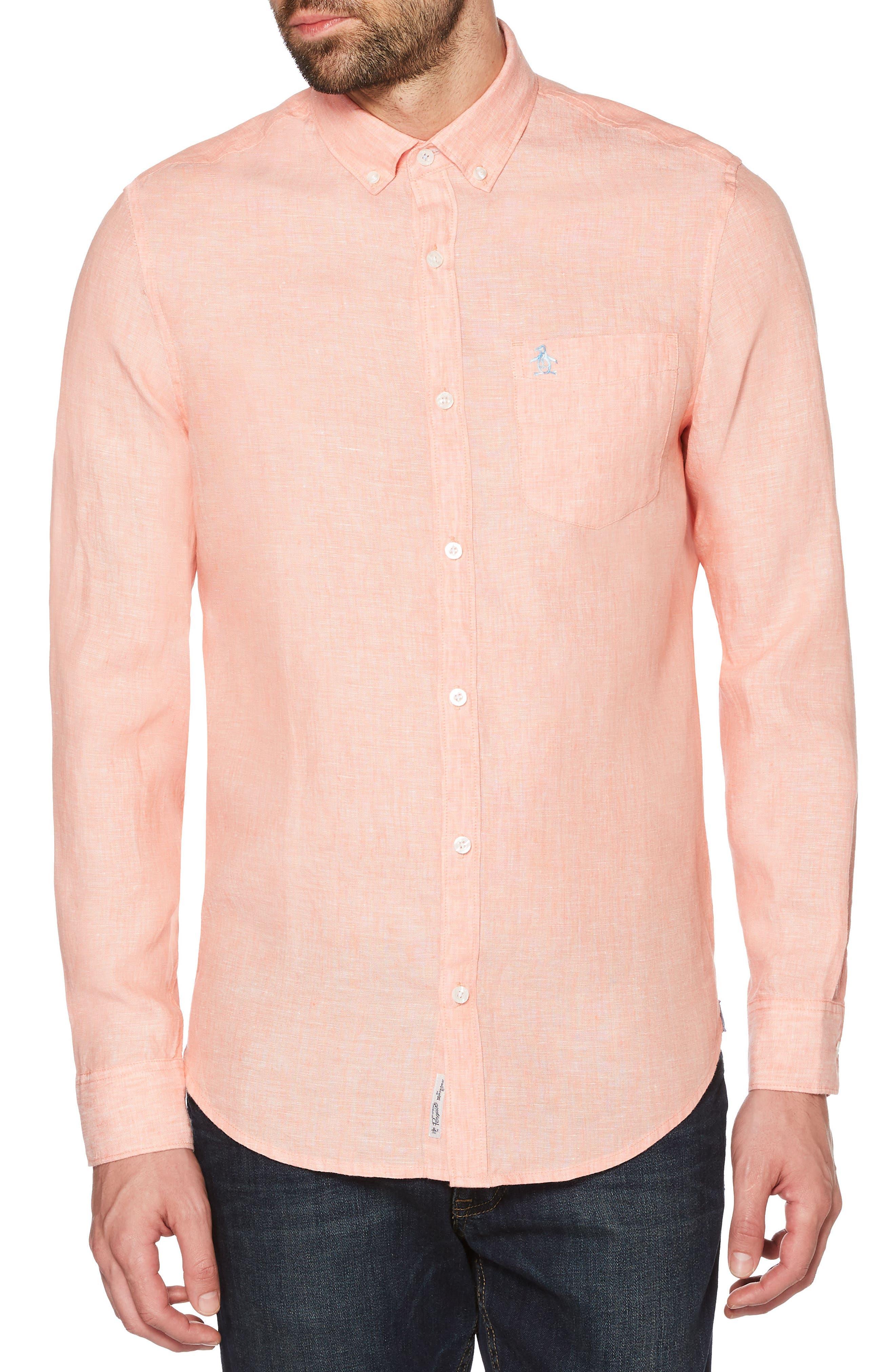 Nep Woven Shirt,                             Main thumbnail 1, color,                             PEACH AMBER
