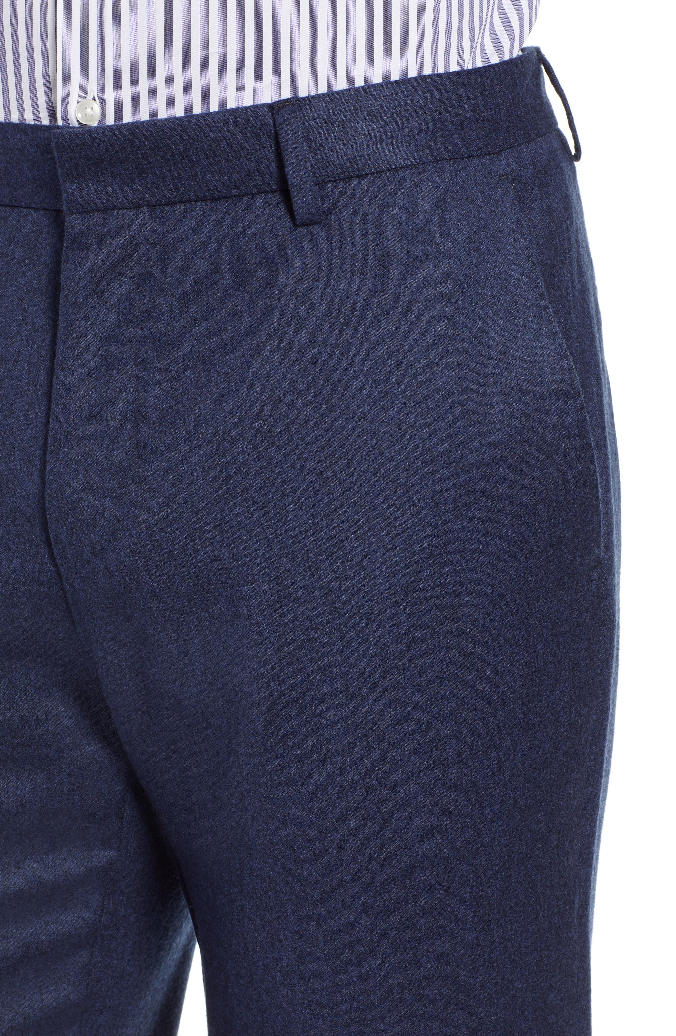 Gains Flat Front Solid Wool Trousers,                             Alternate thumbnail 4, color,                             DARK BLUE