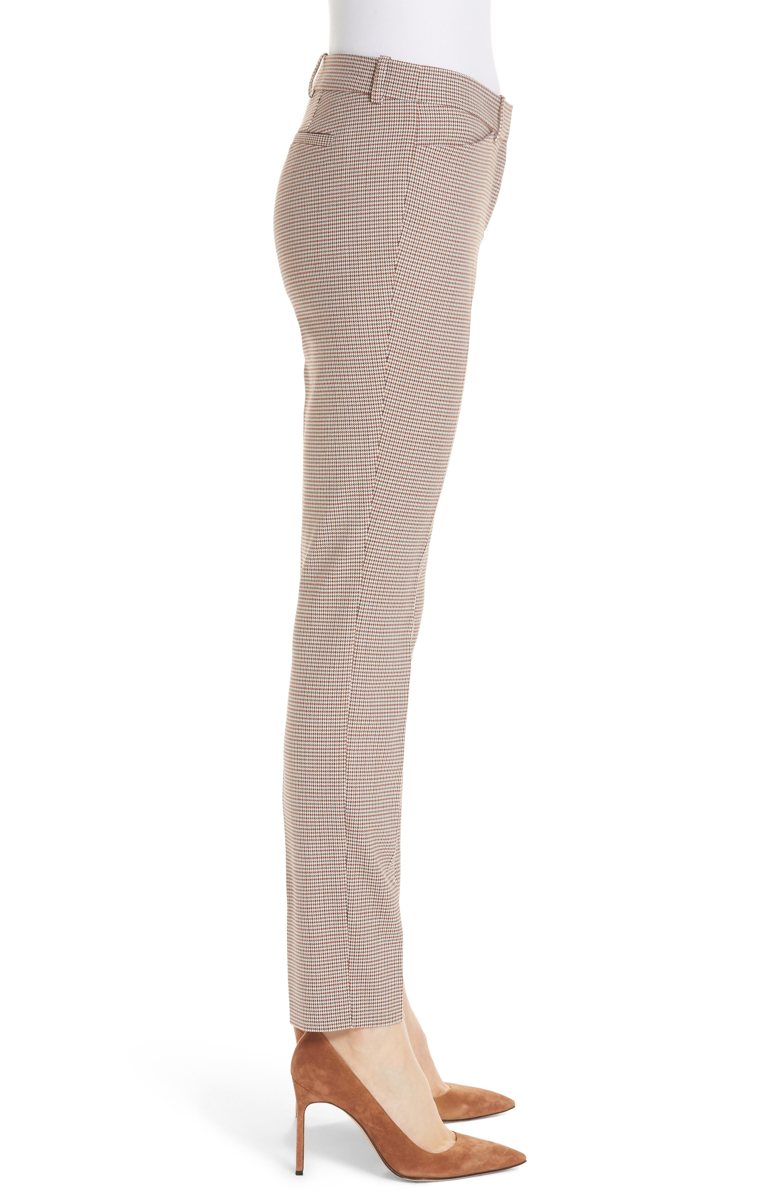 Manhattan Houndstooth Wool Blend Skinny Pants,                             Alternate thumbnail 3, color,                             SAFFRON MULTI