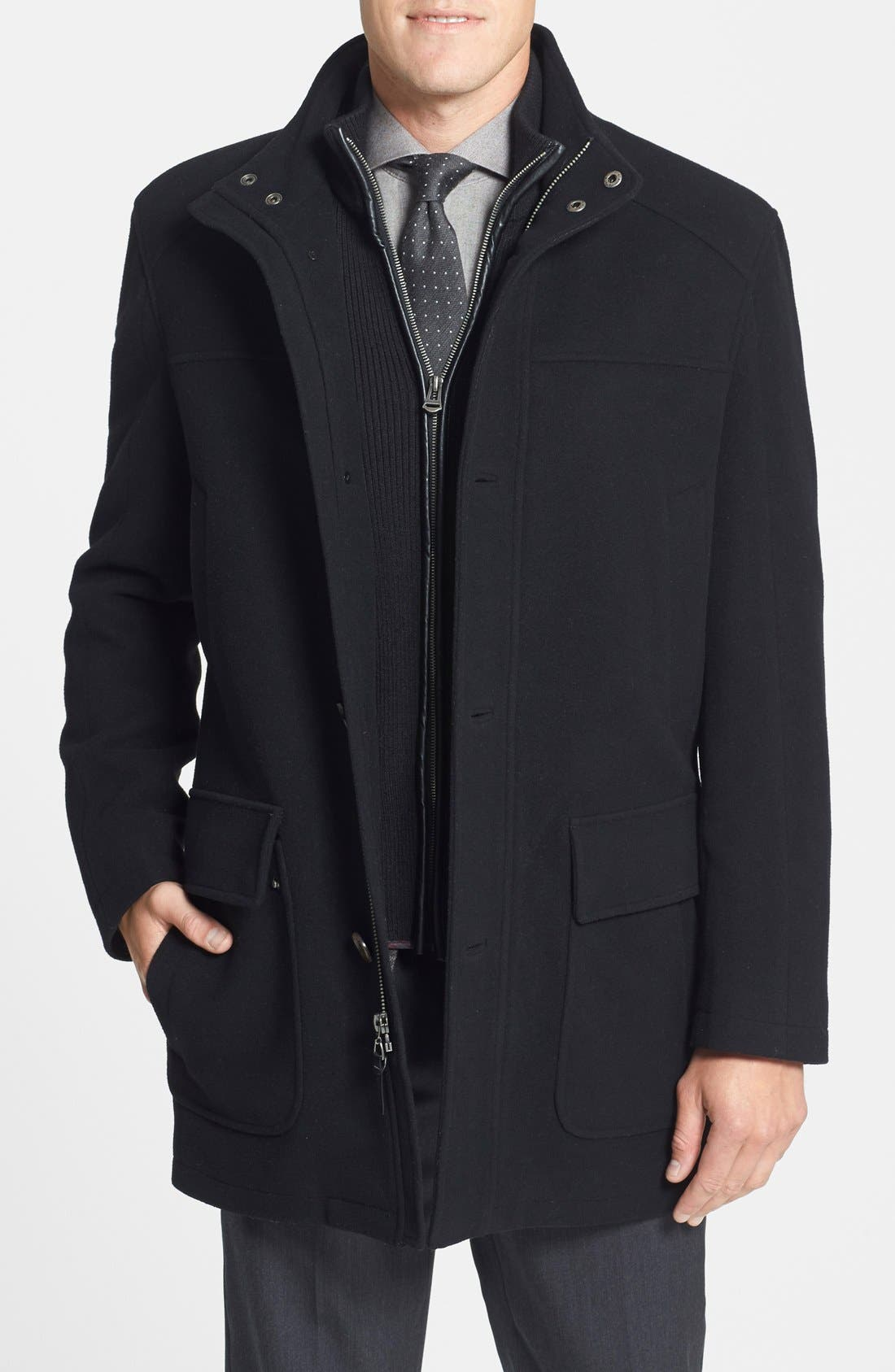 Wool Blend Topcoat with Inset Bib,                             Main thumbnail 2, color,