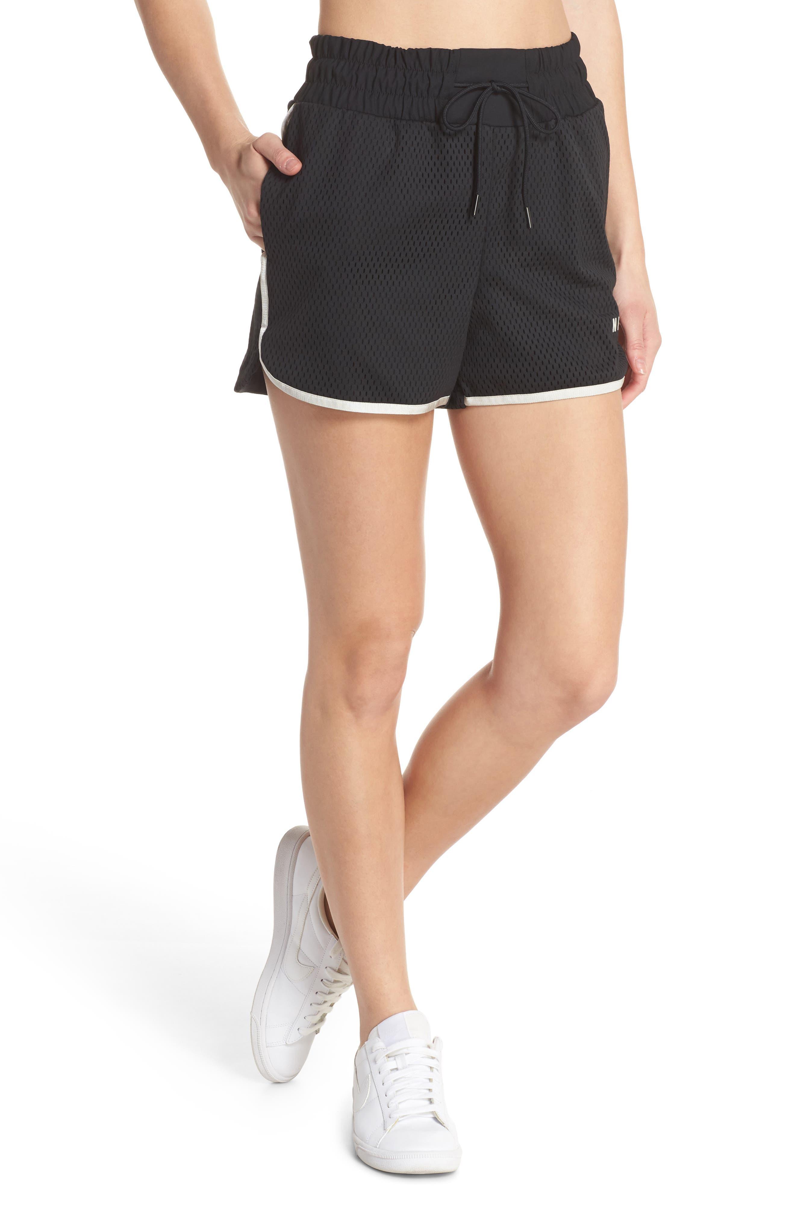 Sportswear Women's Dri-FIT Mesh Shorts,                         Main,                         color, BLACK/ LIGHT BONE