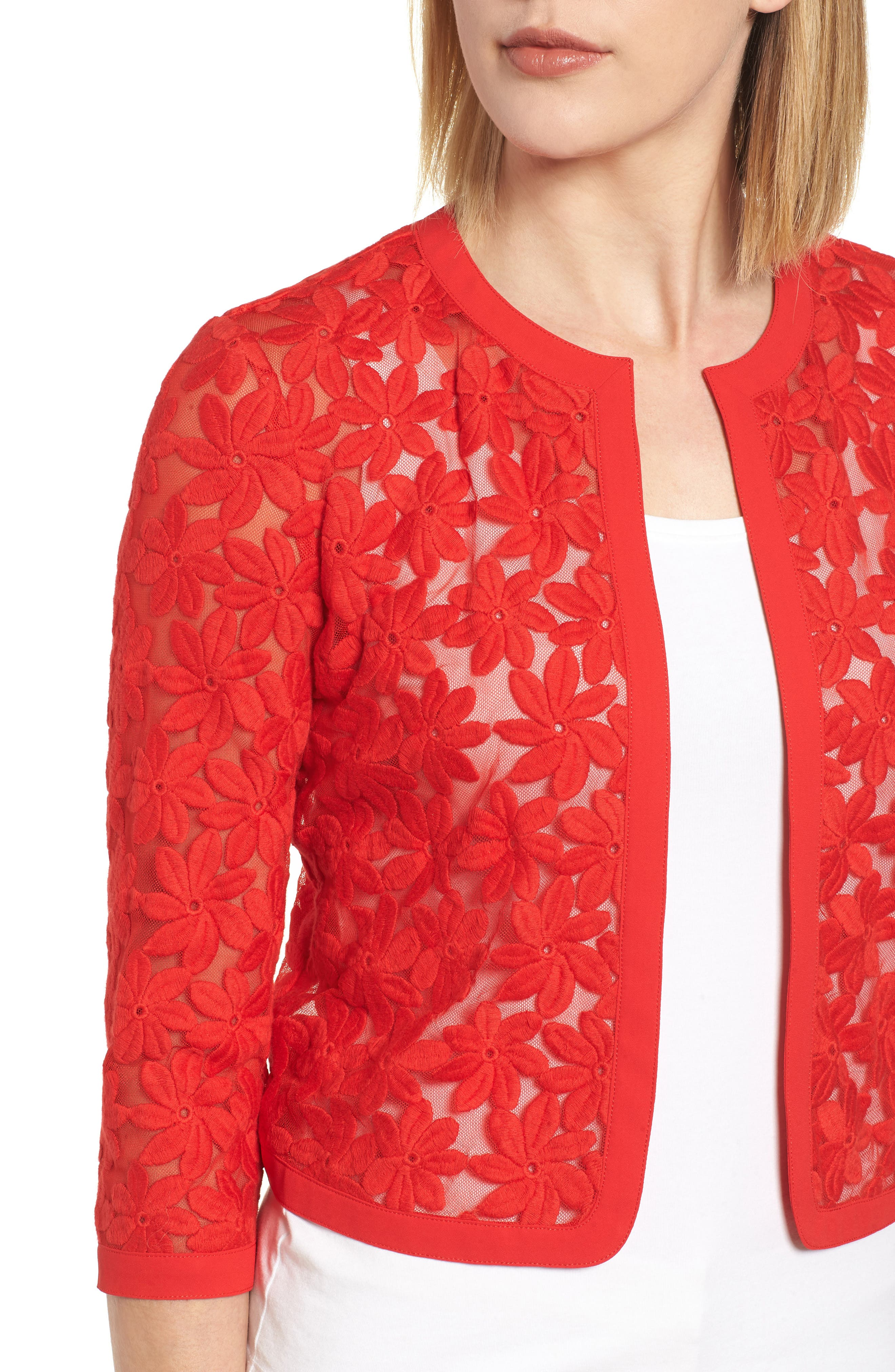 Floral Embroidered Mesh Cardigan,                             Alternate thumbnail 4, color,                             620