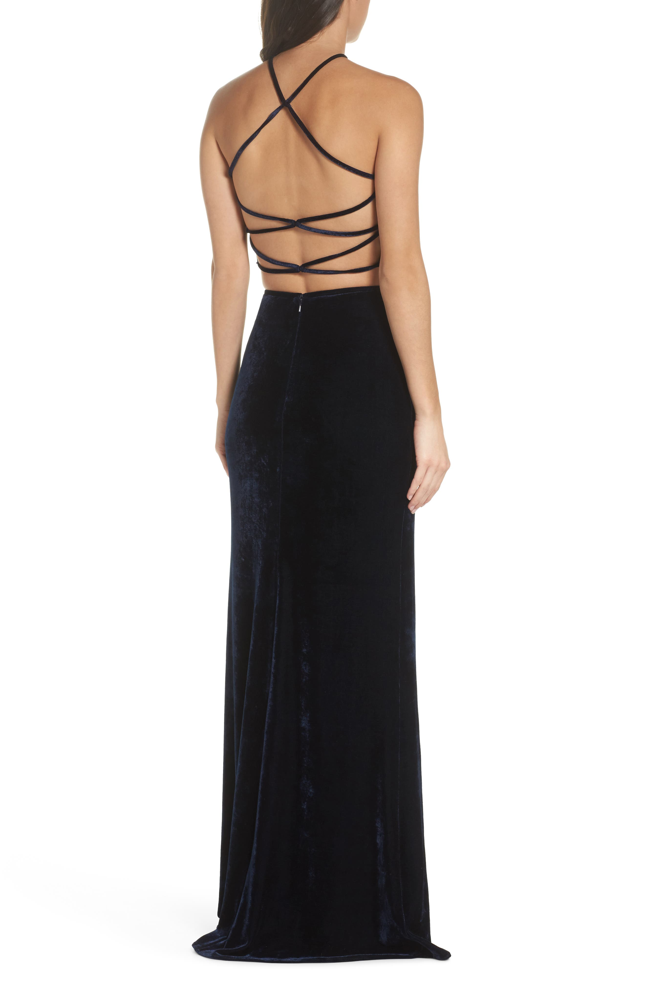 Two-Piece Embroidered Velvet Gown,                             Alternate thumbnail 2, color,                             410