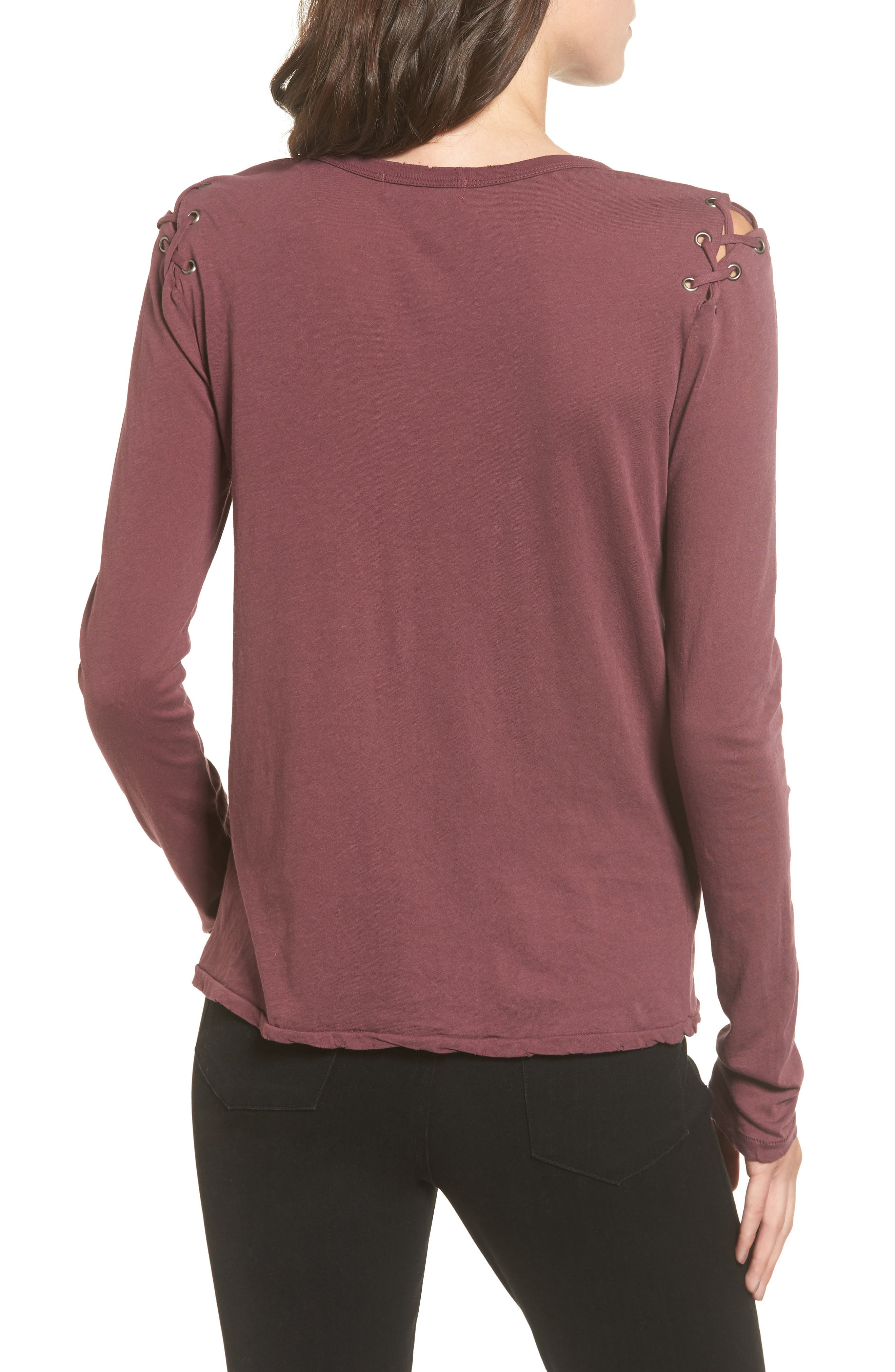 Darcia Lace-Up Tee,                             Alternate thumbnail 2, color,                             930