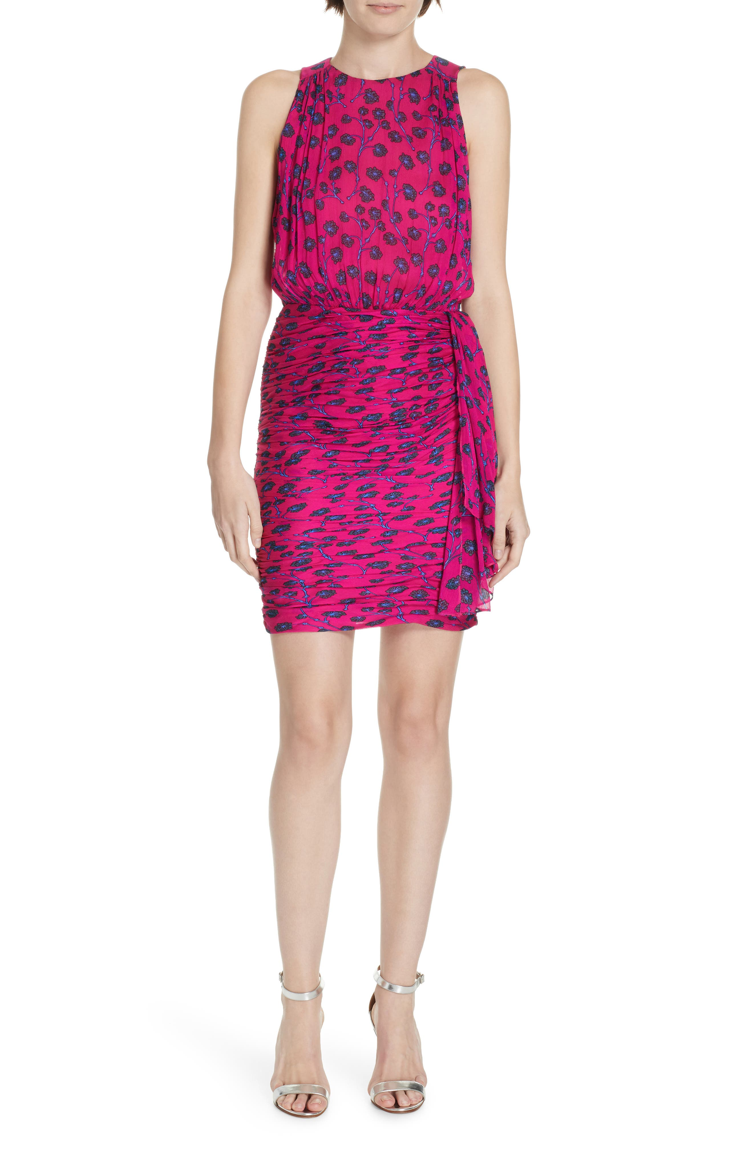 Micah Ruched Blouson Dress, Main, color, DRAGON BERRY DITSY PINK