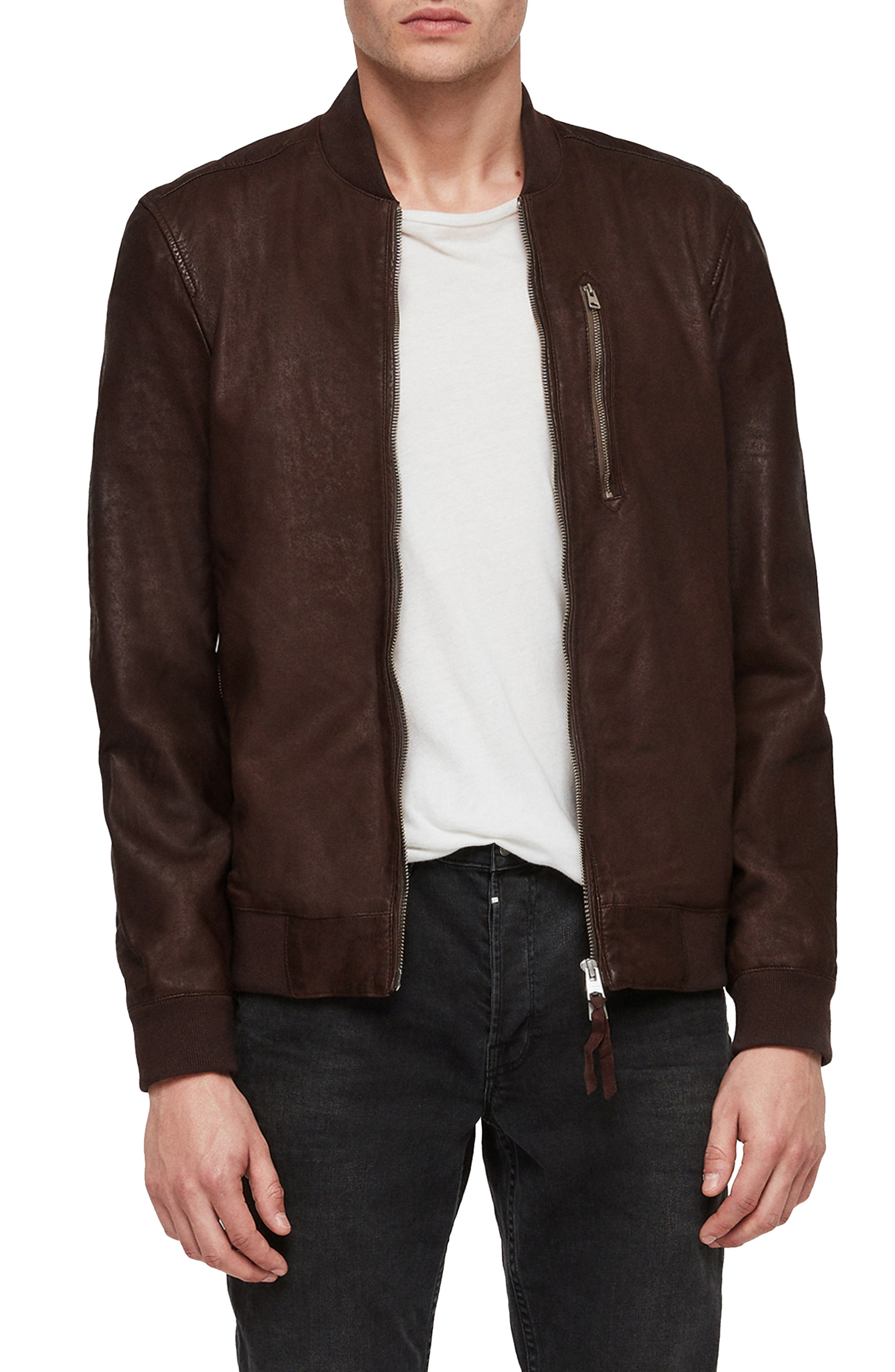 Kino Leather Bomber Jacket,                         Main,                         color, OXBLOOD