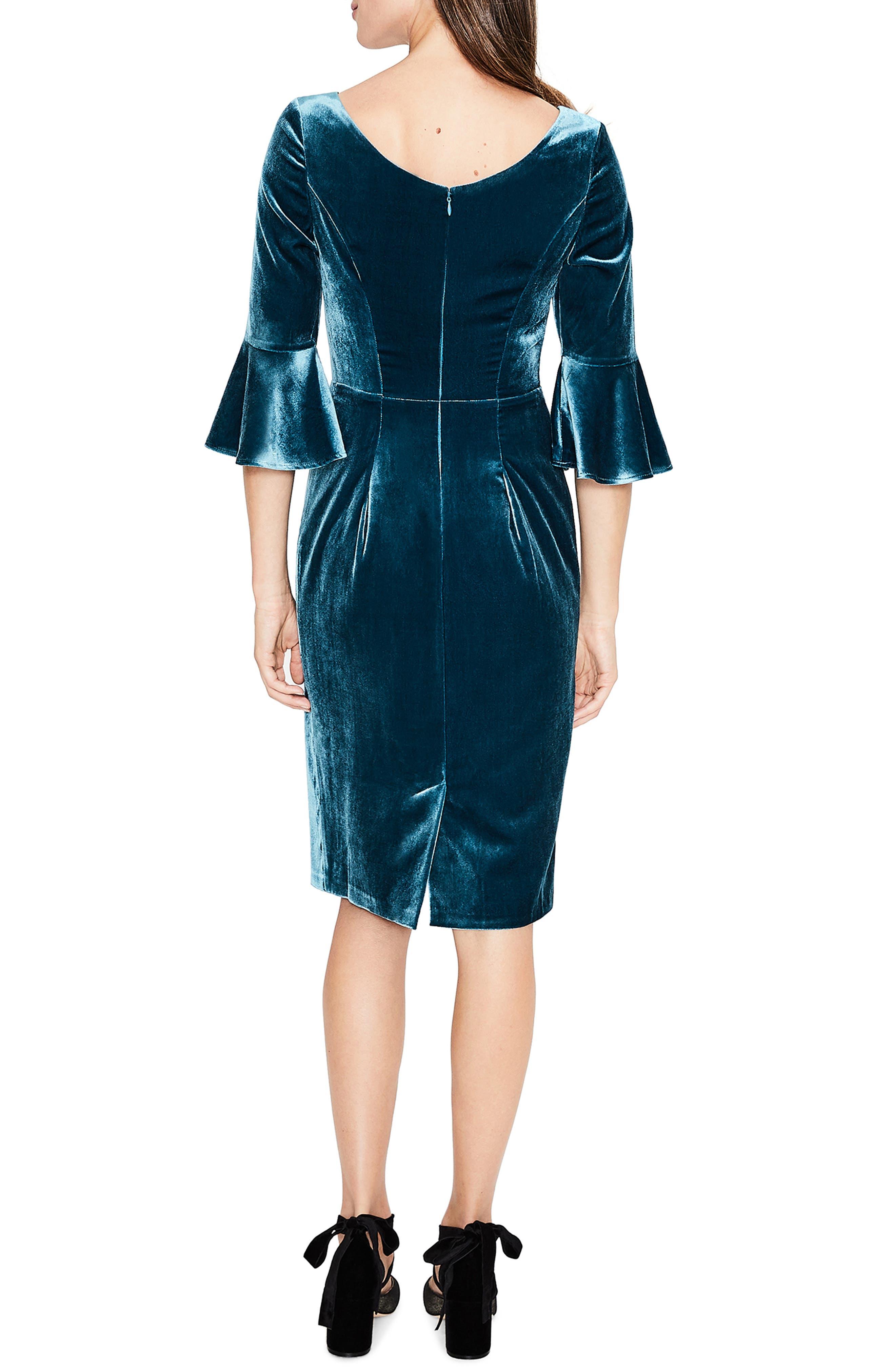 Aubrey Flounce Sleeve Velvet Dress,                             Alternate thumbnail 3, color,                             424