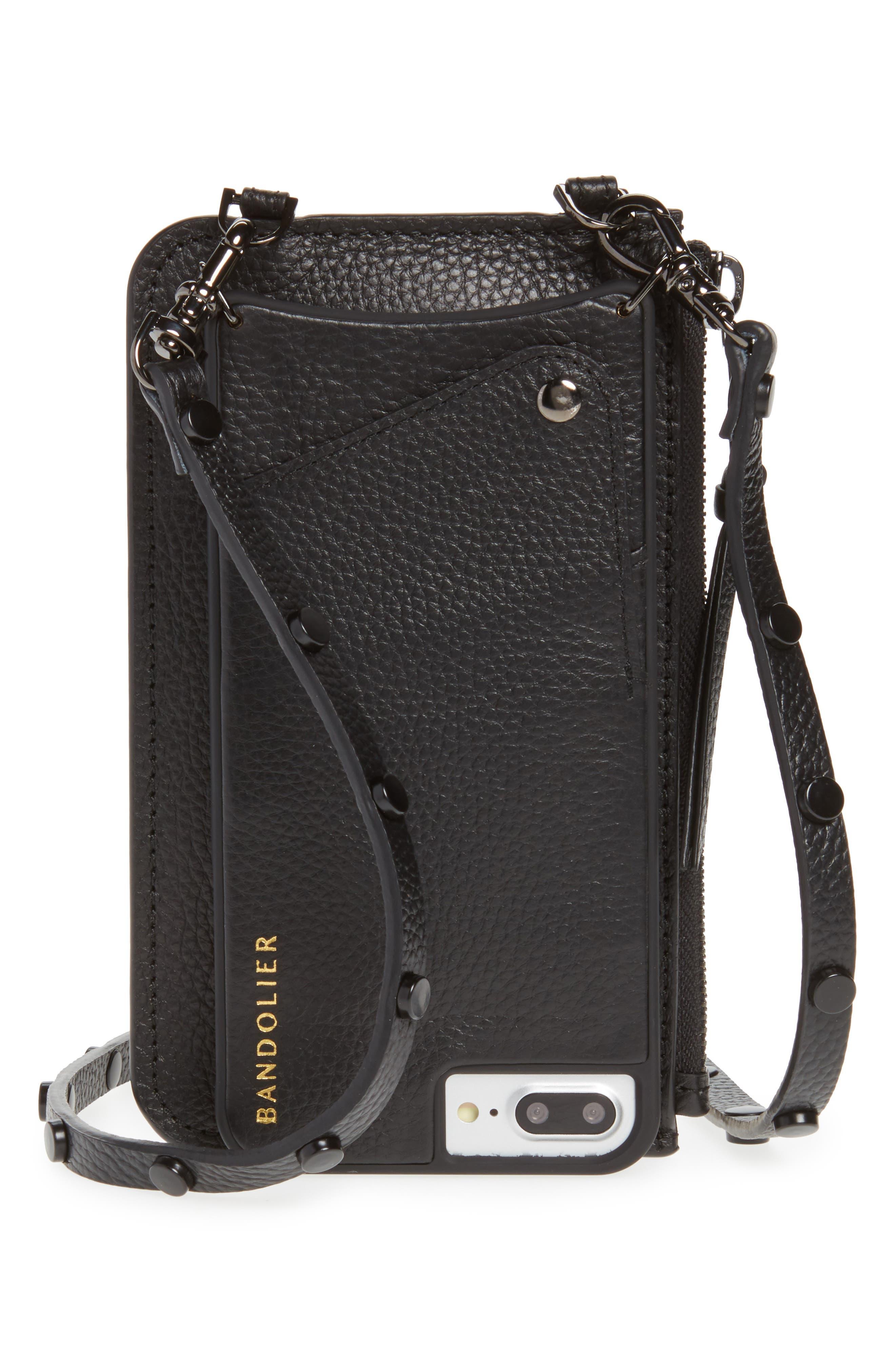 Jane Leather iPhone 7/8 & 7/8 Plus Crossbody Case,                             Main thumbnail 1, color,                             BLACK/ PEWTER