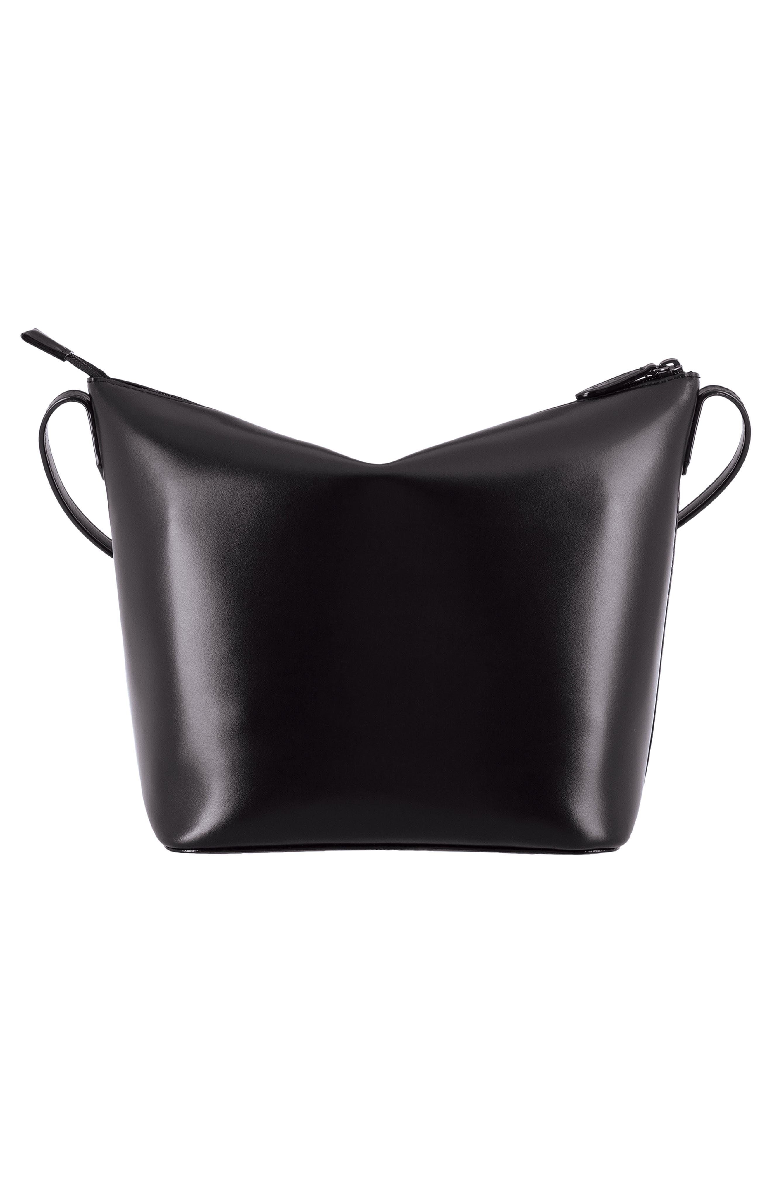 Camilla RFID Leather Crossbody Bucket Bag,                             Alternate thumbnail 2, color,                             BLACK/ BLACK