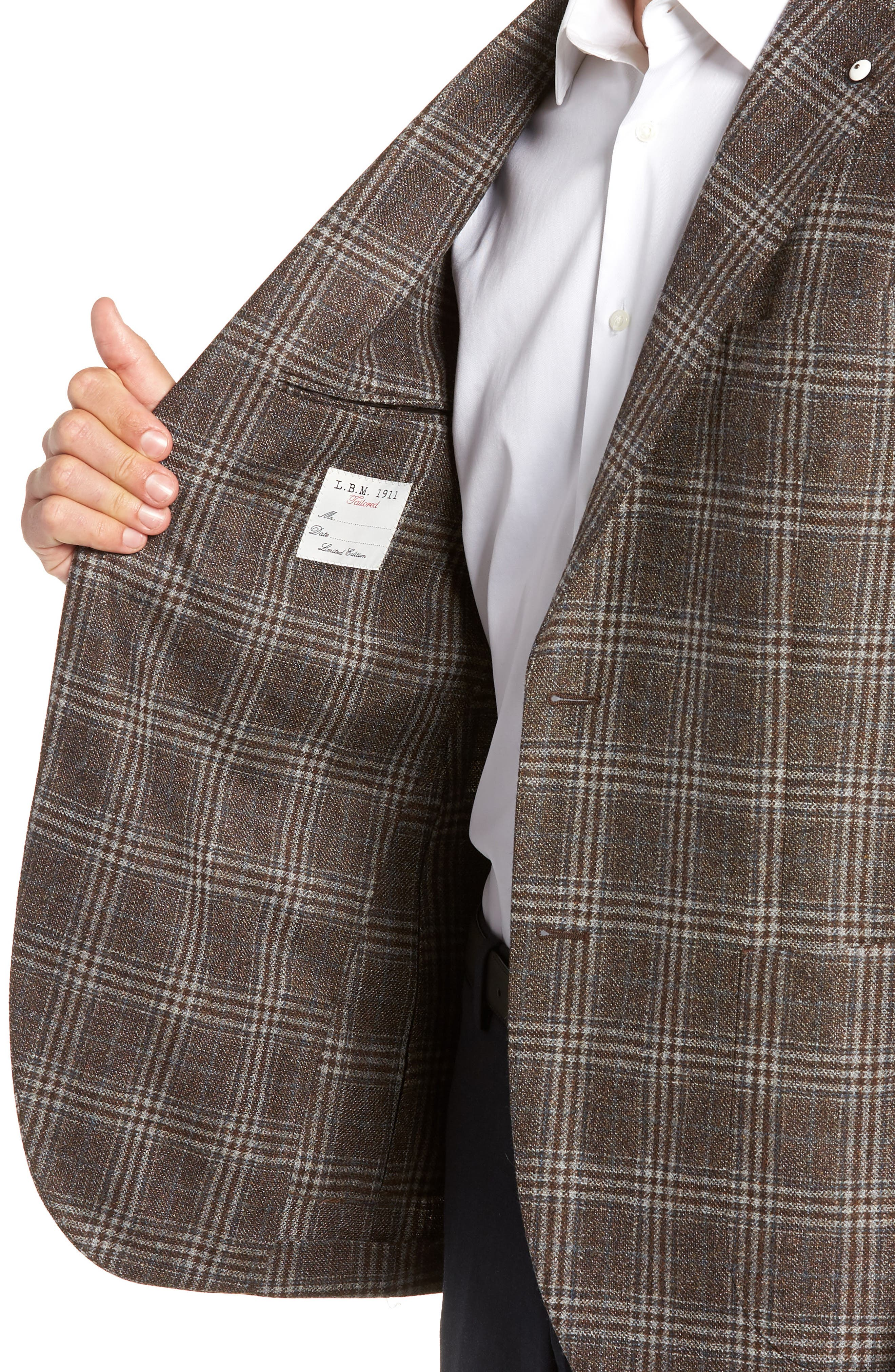 L.B.M 1911 Classic Fit Plaid Wool Sport Coat,                             Alternate thumbnail 4, color,                             BROWN
