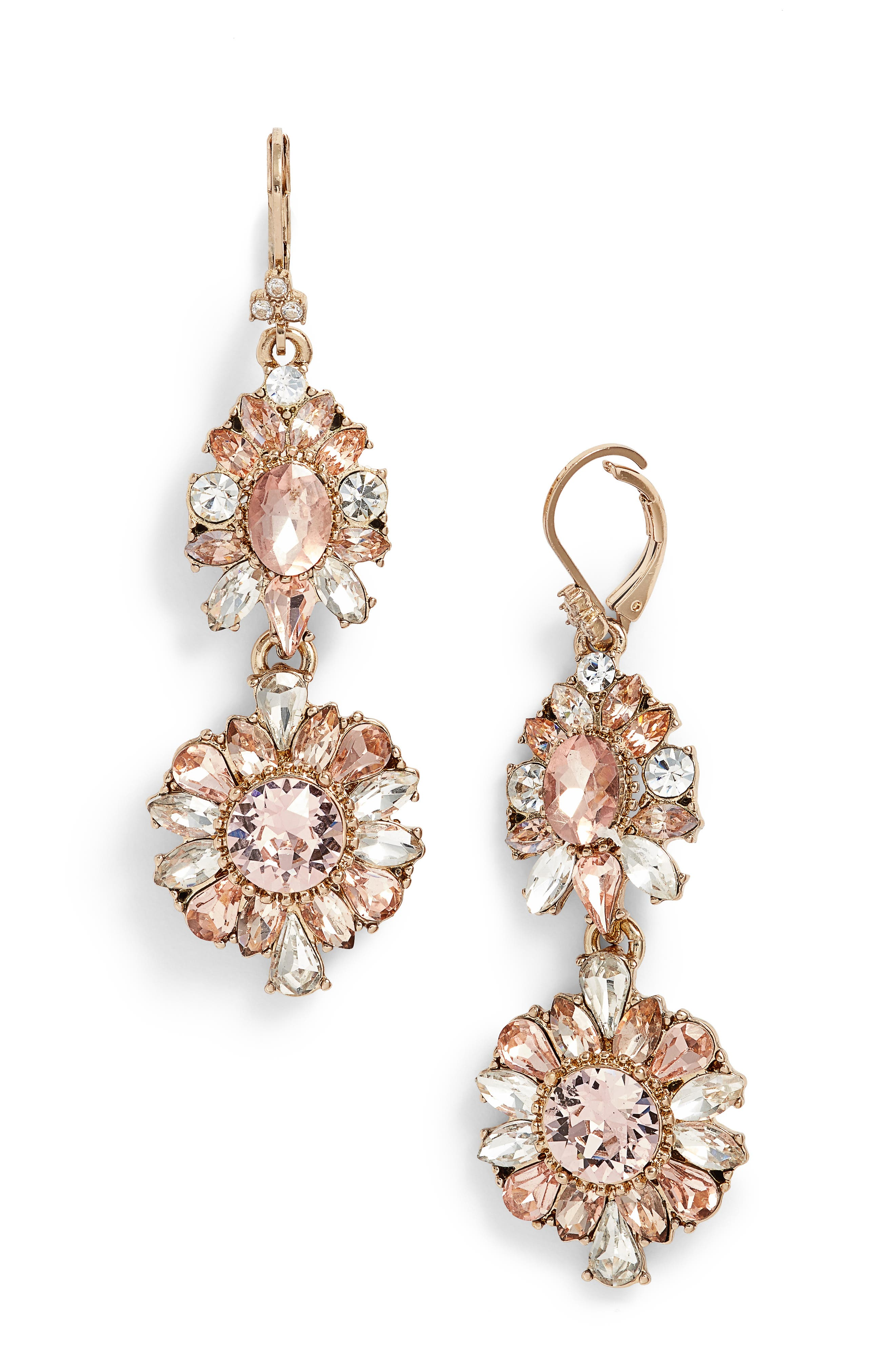 Double Drop Crystal Earrings,                             Main thumbnail 1, color,                             GOLD/ VINTAGE ROSE