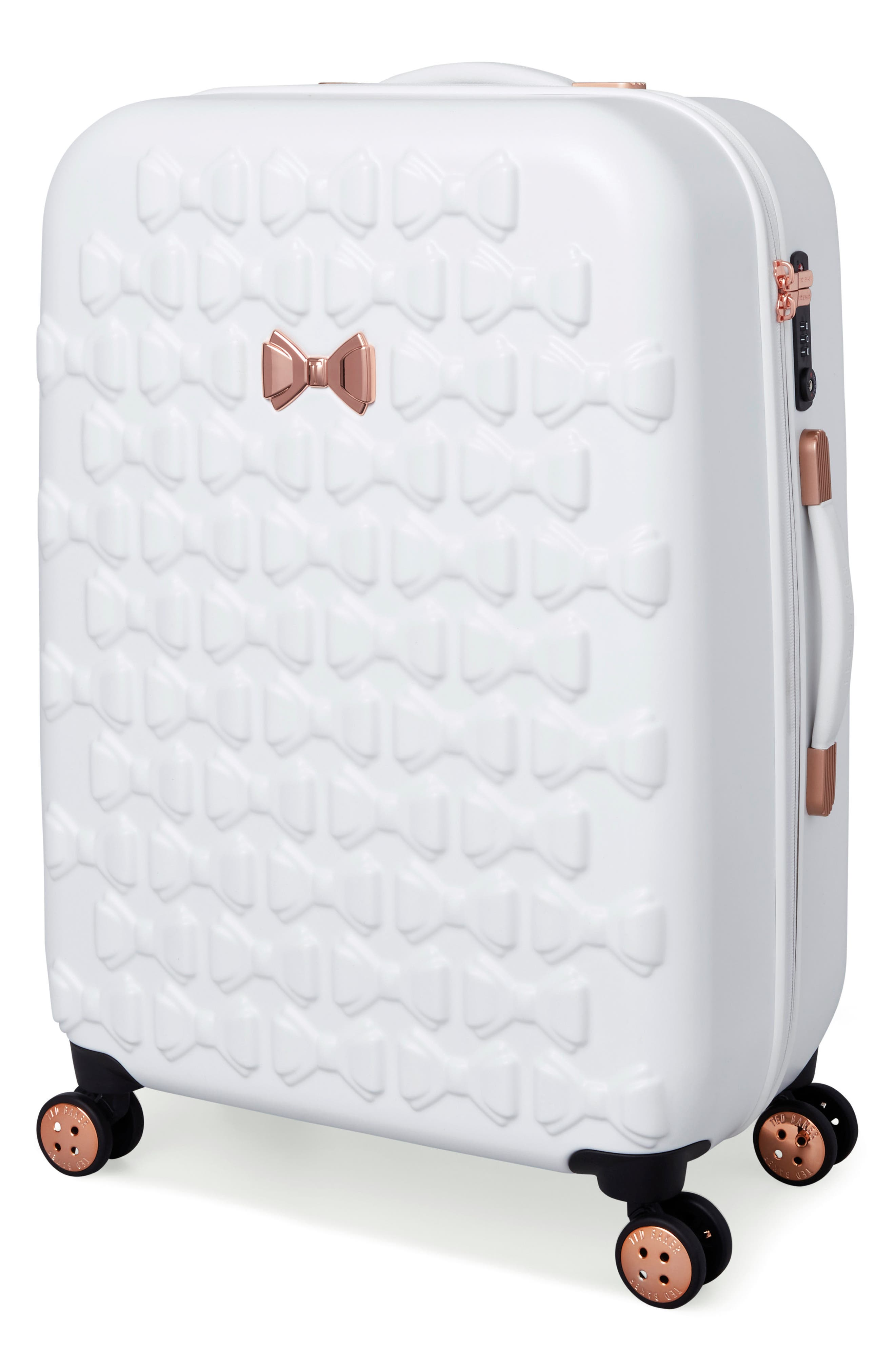 Medium Beau Bow Embossed Four-Wheel 27-Inch Trolley Suitcase,                             Alternate thumbnail 3, color,                             WHITE