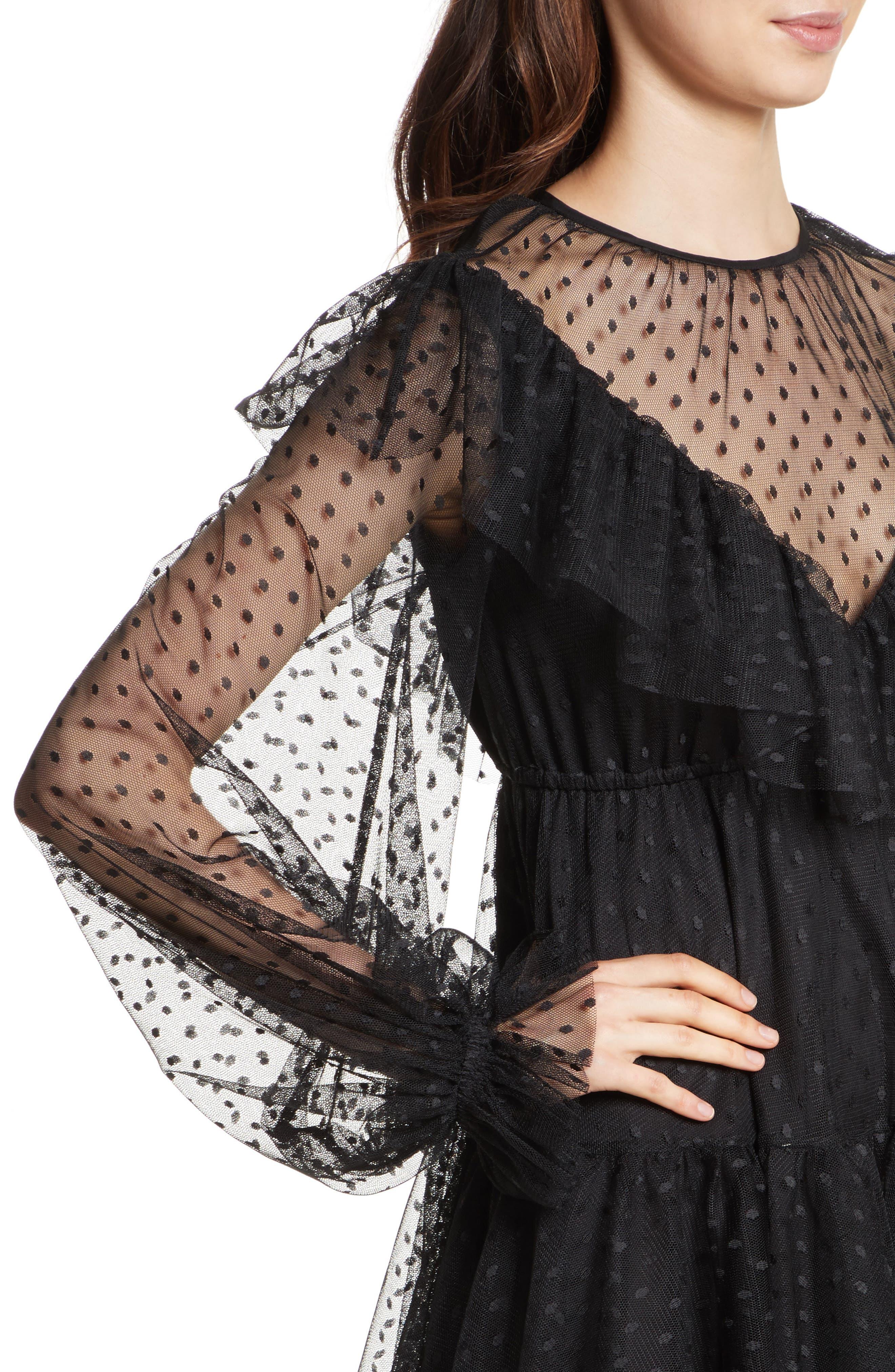 Dot Tulle Victorian Dress,                             Alternate thumbnail 4, color,                             001