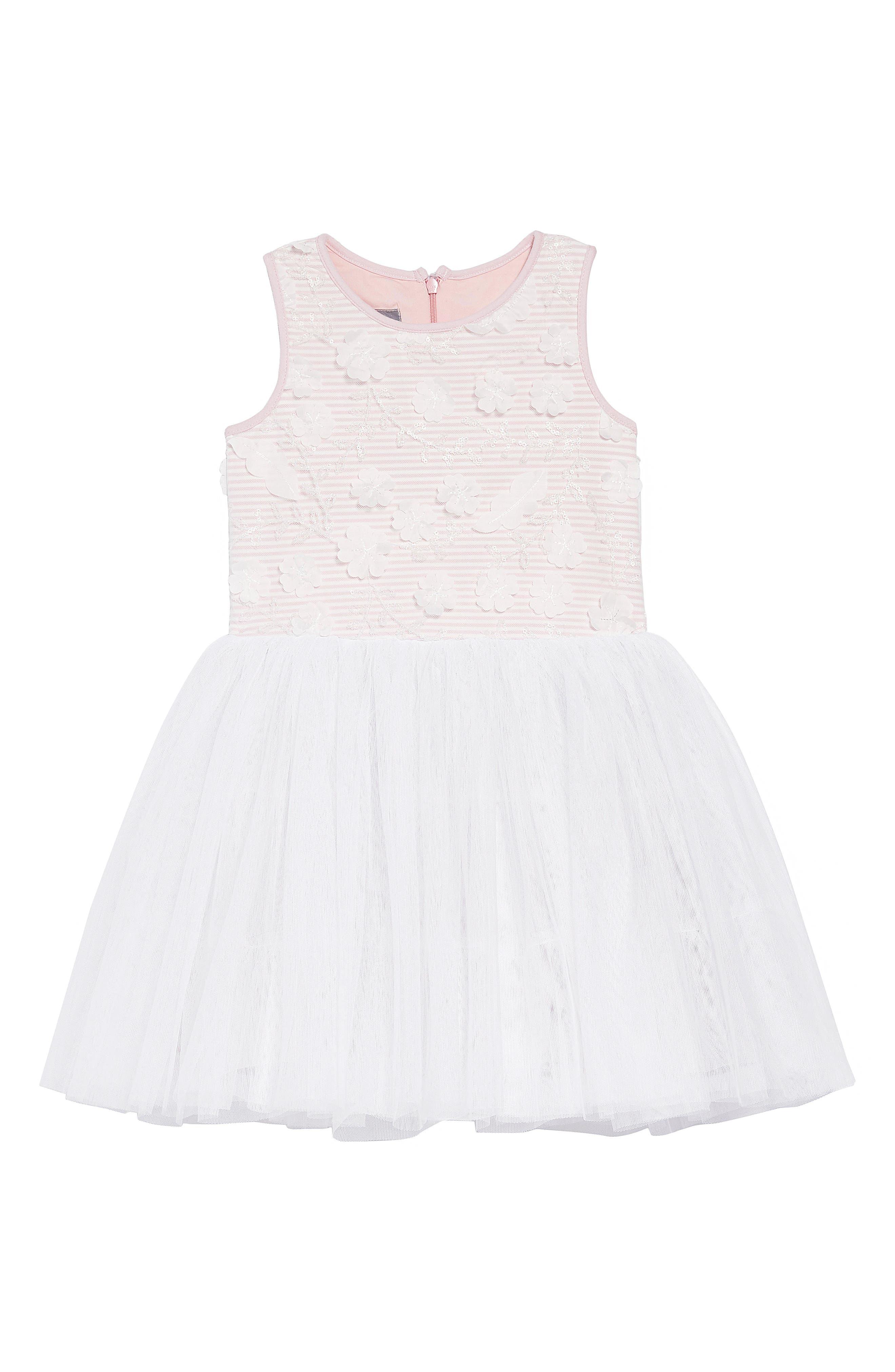 Embellished Bodice Dress,                             Main thumbnail 1, color,                             PINK/ WHITE