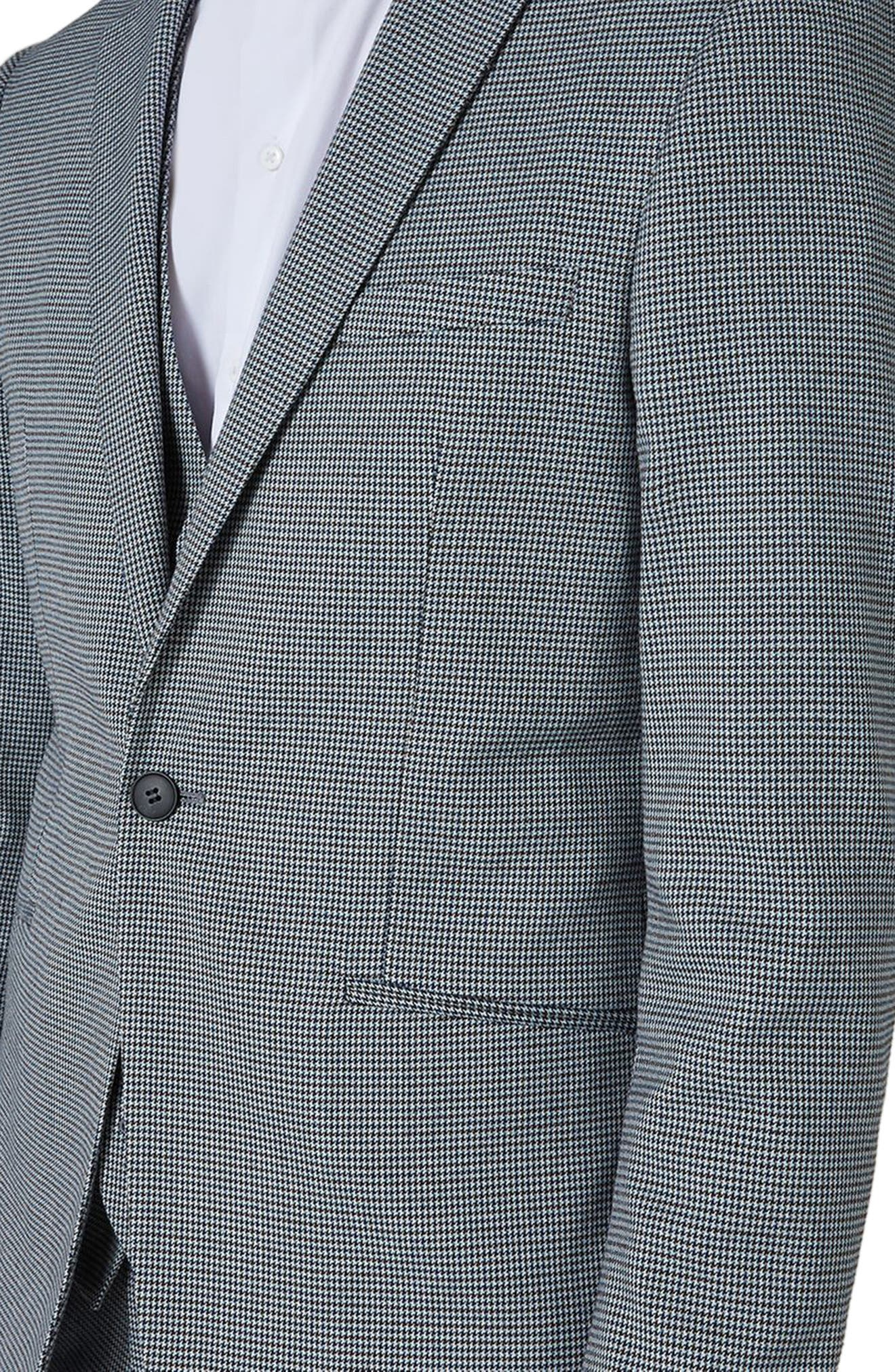 Skinny Fit Houndstooth Suit Jacket,                             Alternate thumbnail 3, color,