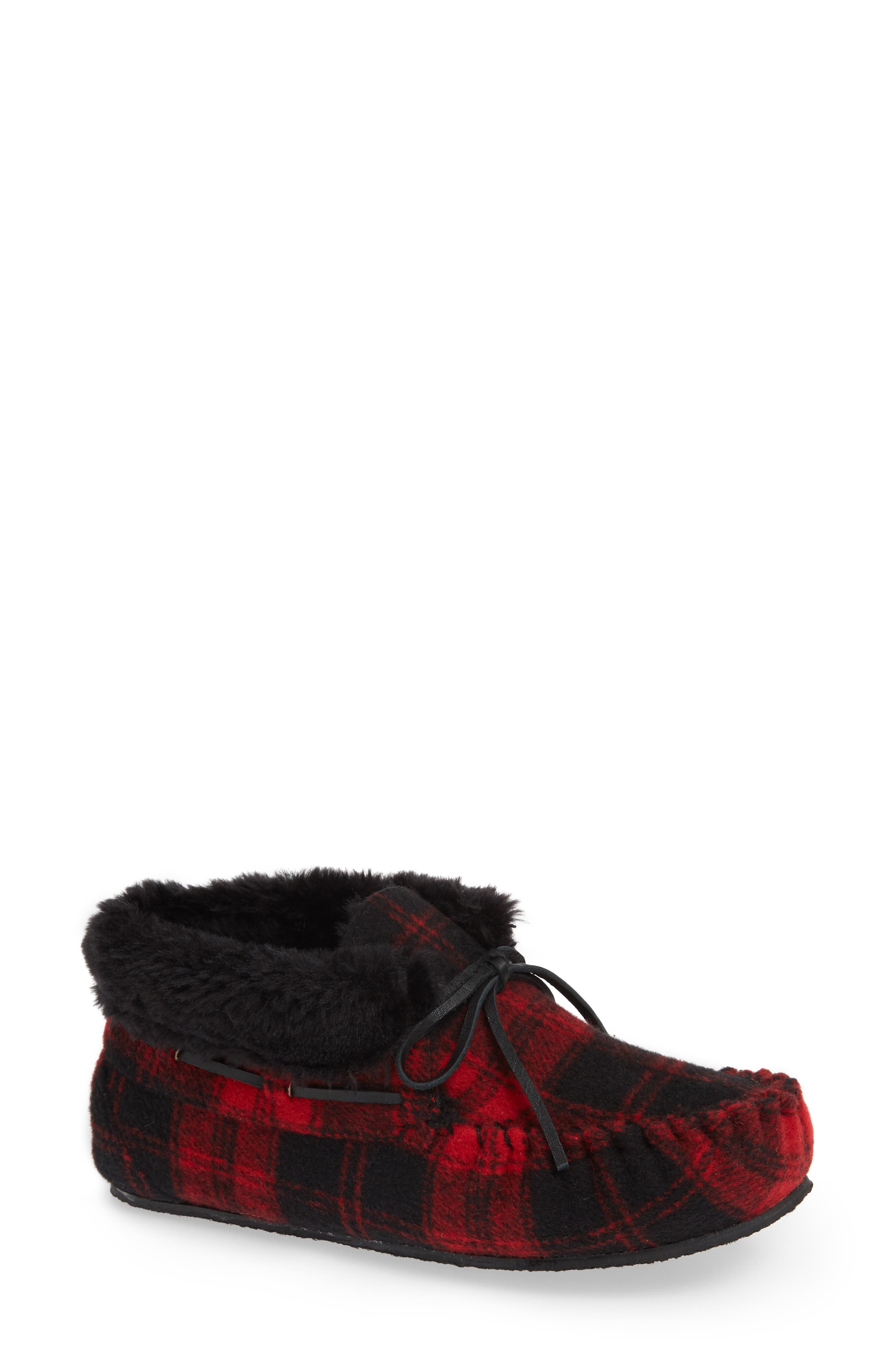 MINNETONKA,                             'Chrissy' Slipper Bootie,                             Main thumbnail 1, color,                             RED PLAID FABRIC