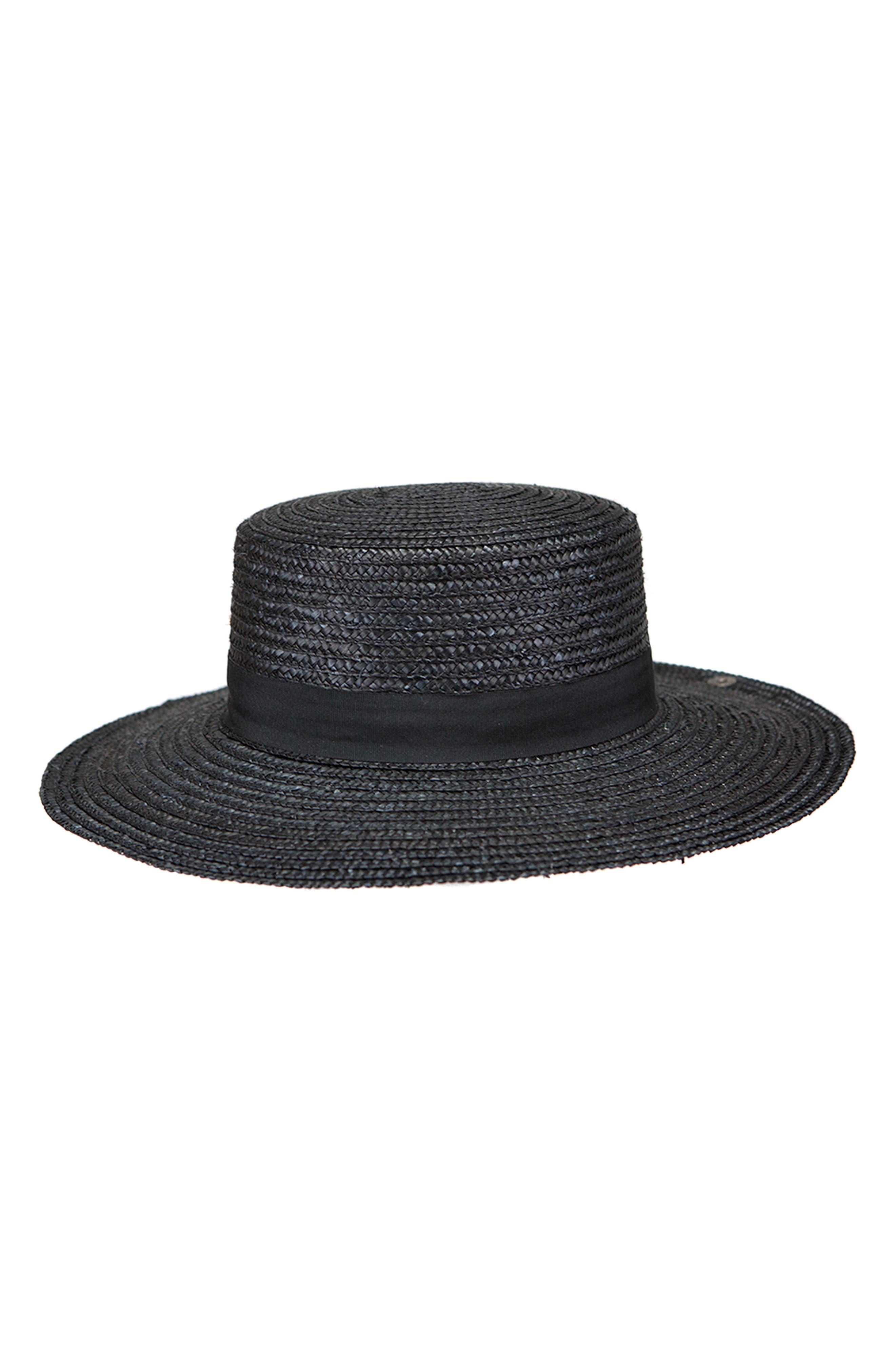 Lupe Straw Resort Hat,                             Main thumbnail 1, color,                             BLACK
