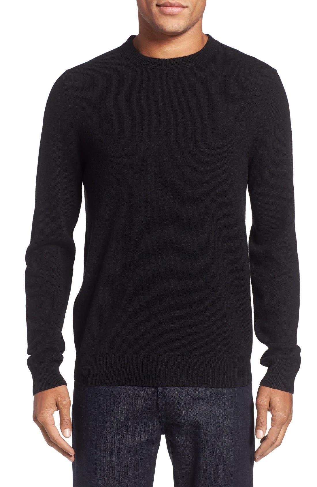Cashmere Crewneck Sweater,                             Main thumbnail 1, color,                             BLACK CAVIAR