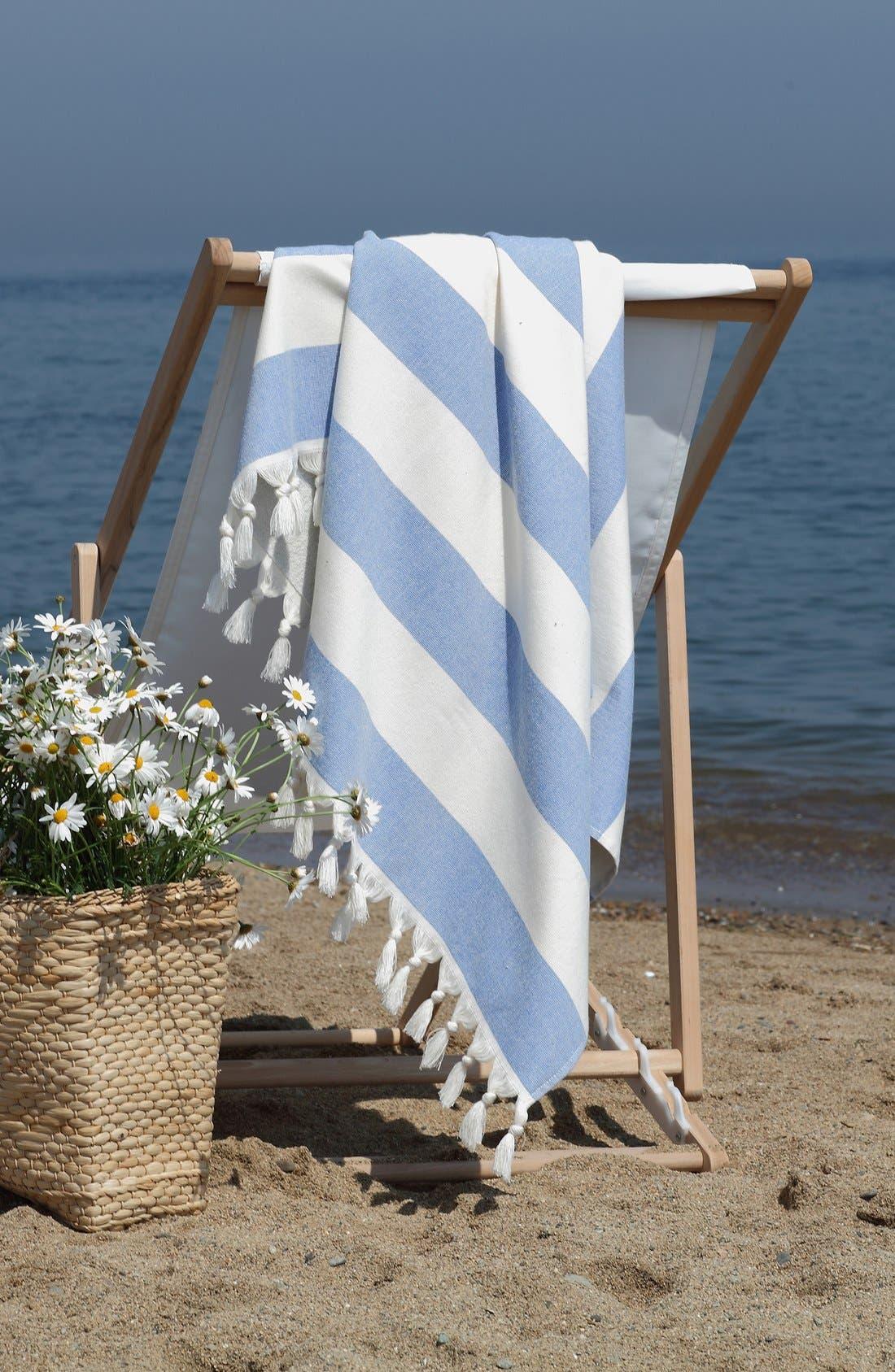 'Patara' Turkish Pestemal Towel,                             Alternate thumbnail 3, color,                             ROYAL BLUE