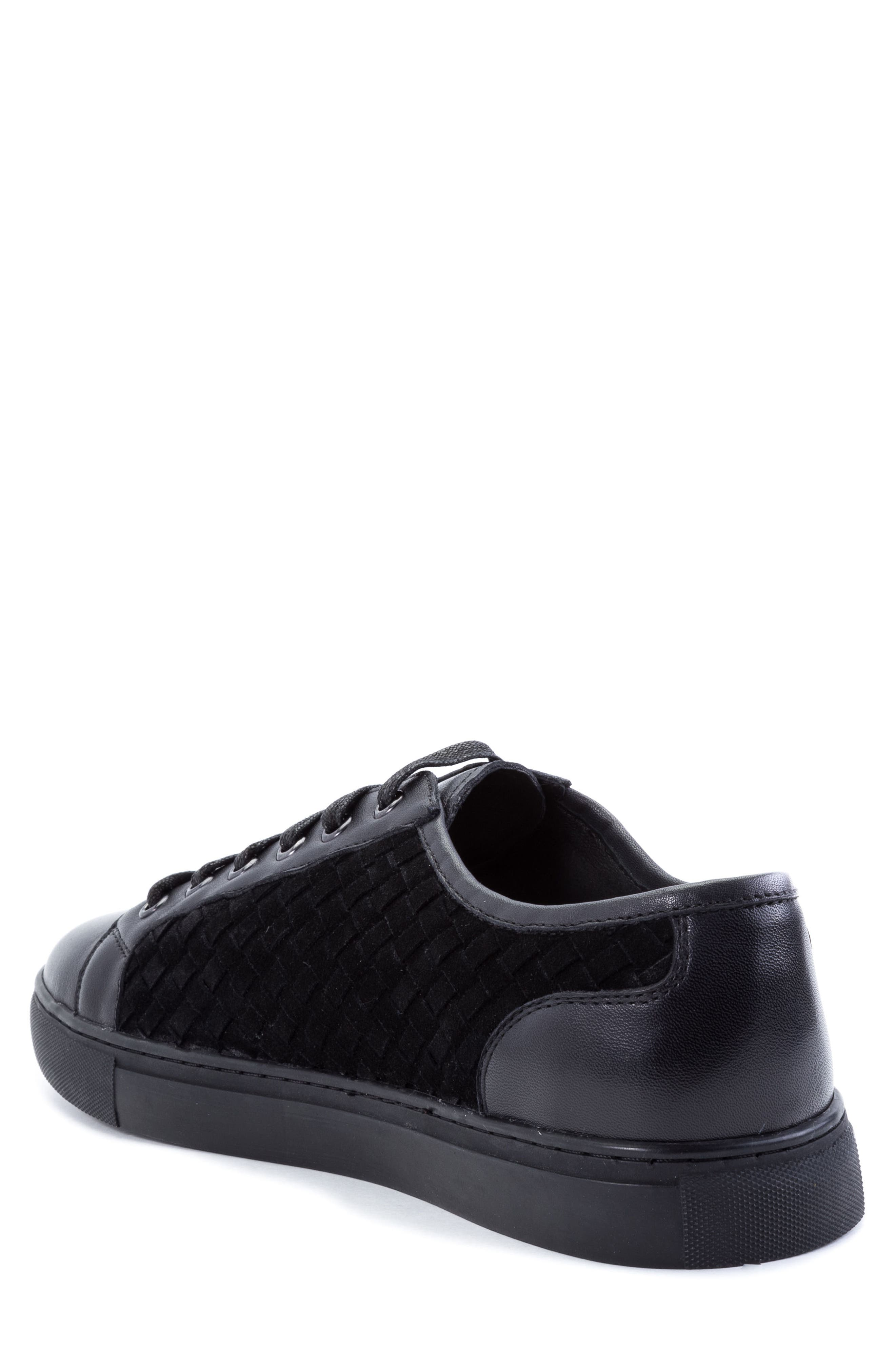 Player Woven Low Top Sneaker,                             Alternate thumbnail 2, color,                             BLACK LEATHER/ SUEDE