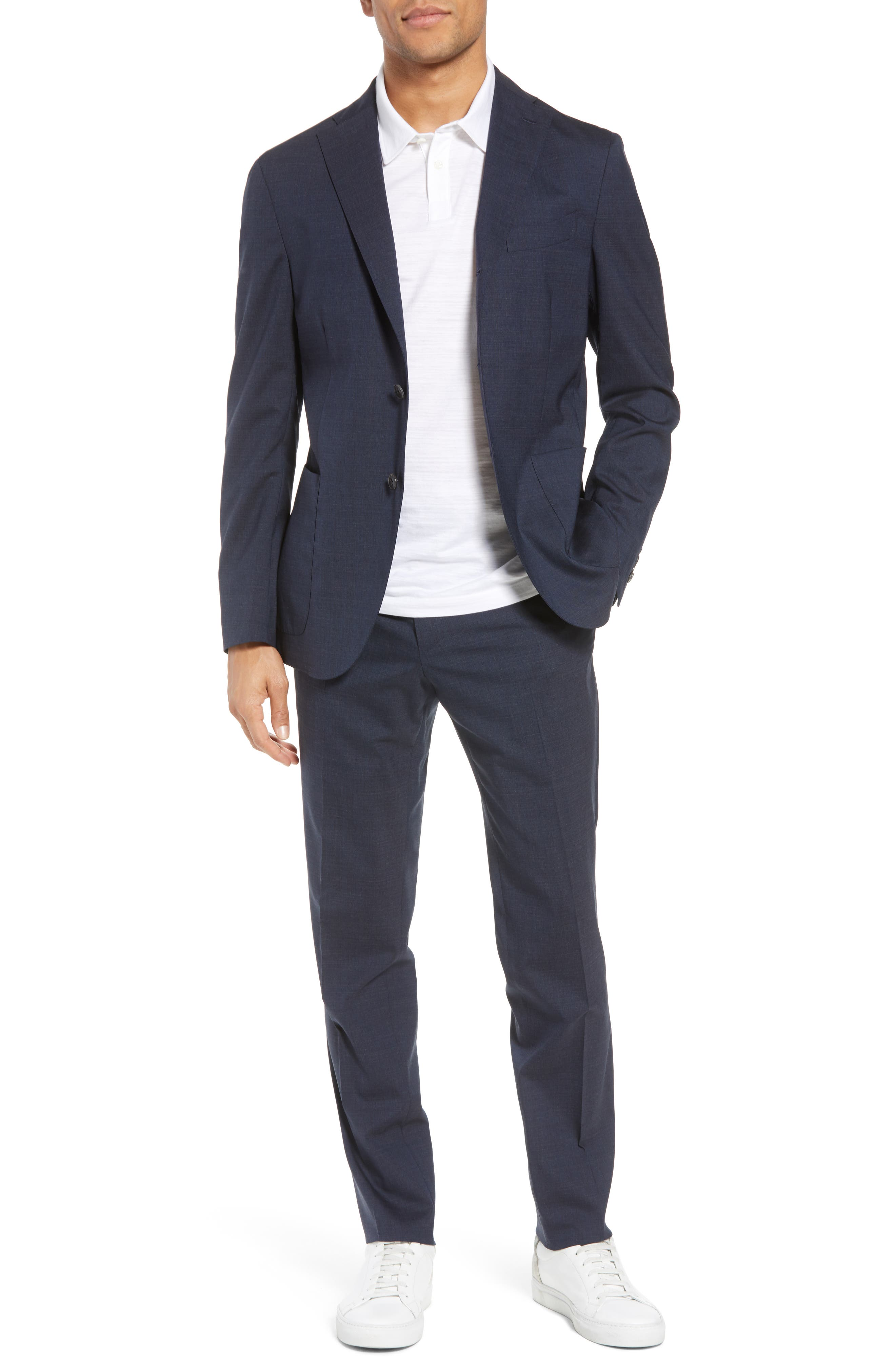 Trim Fit Stretch Solid Wool Suit,                             Main thumbnail 1, color,                             NAVY