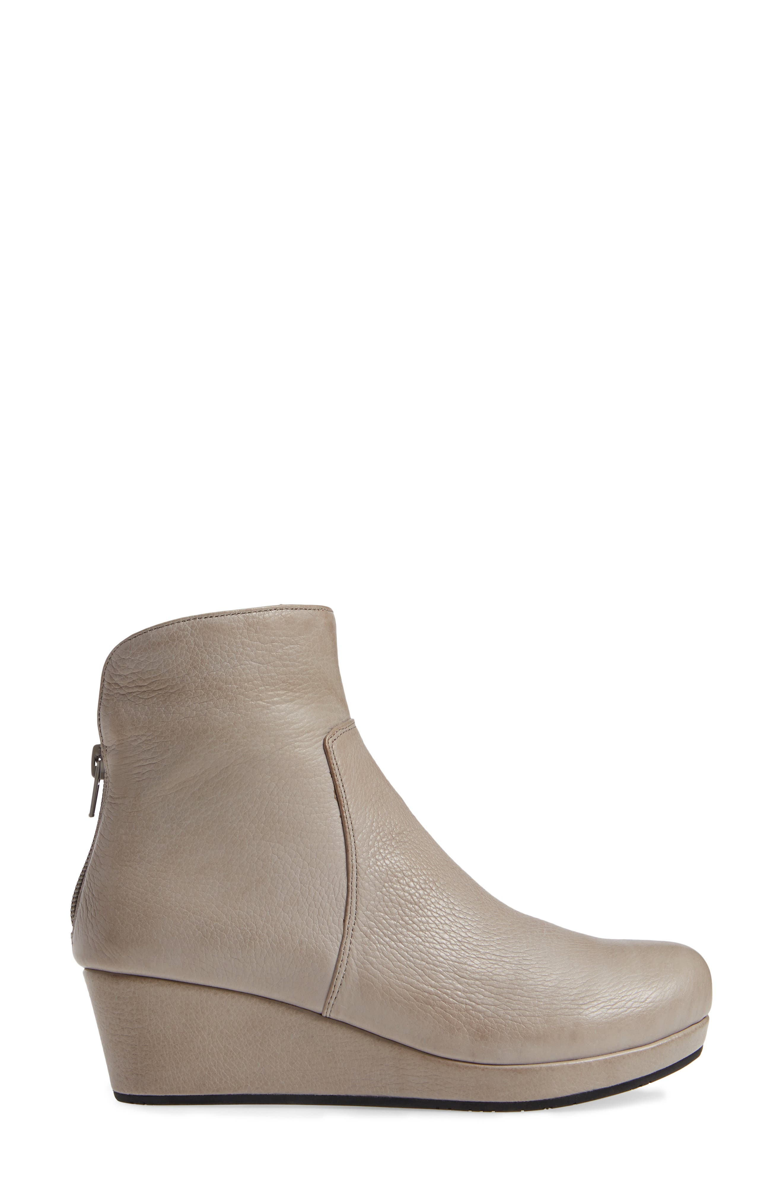 Yarden Wedge Bootie,                             Alternate thumbnail 3, color,                             GREY LEATHER