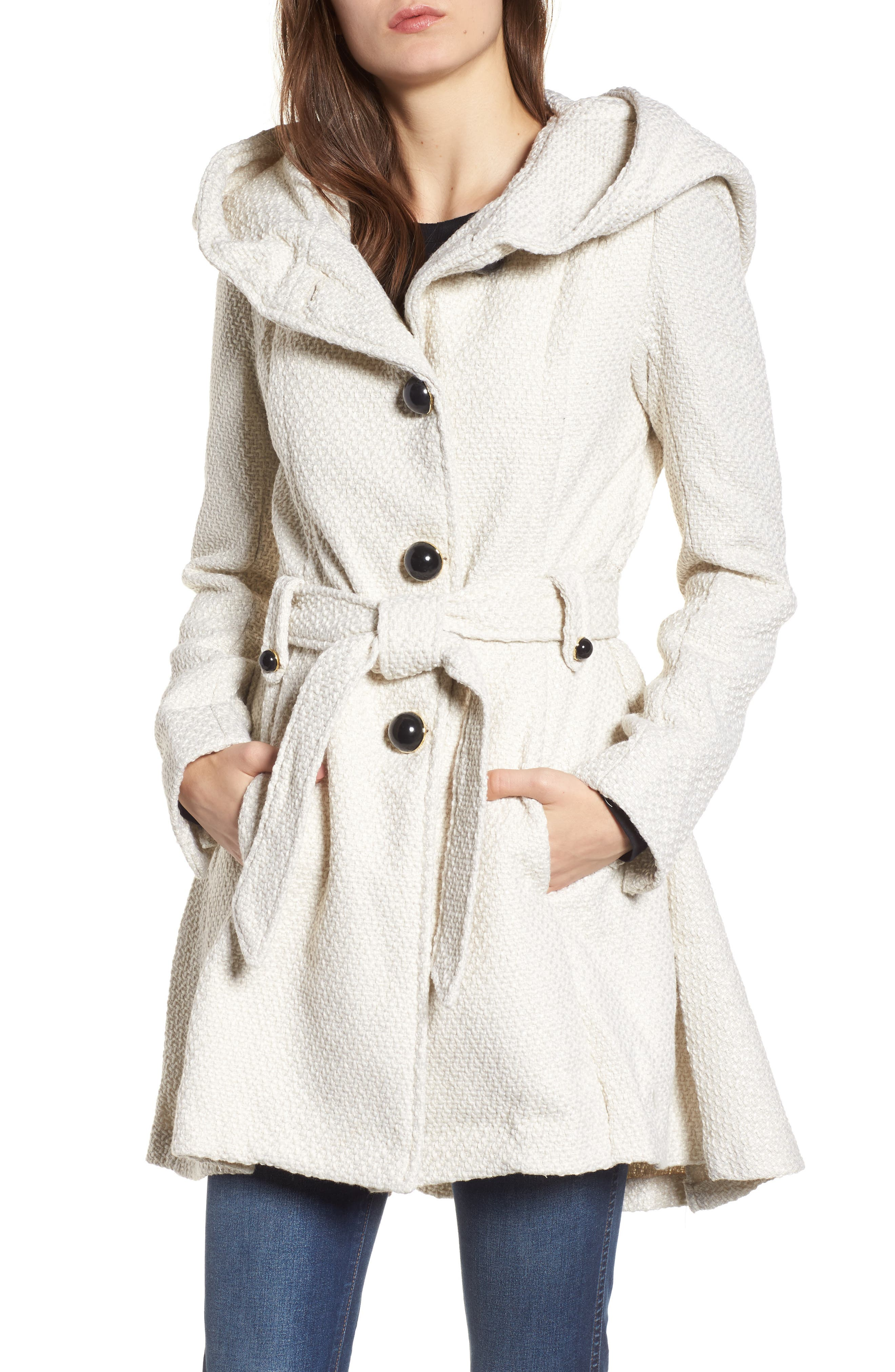 Belted Hooded Skirted Coat,                             Main thumbnail 1, color,