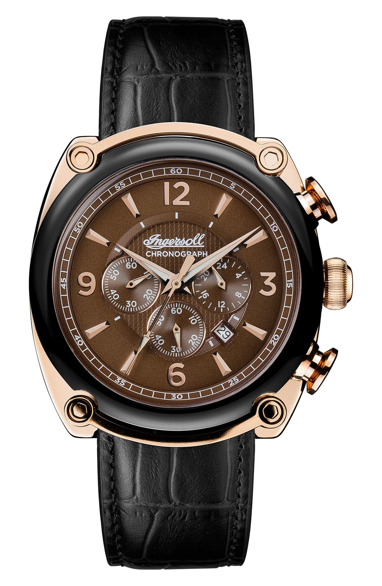 Ingersoll Michigan Leather Strap Chronograph Watch, 45mm,                             Main thumbnail 1, color,                             BLACK/ BROWN/ ROSE GOLD