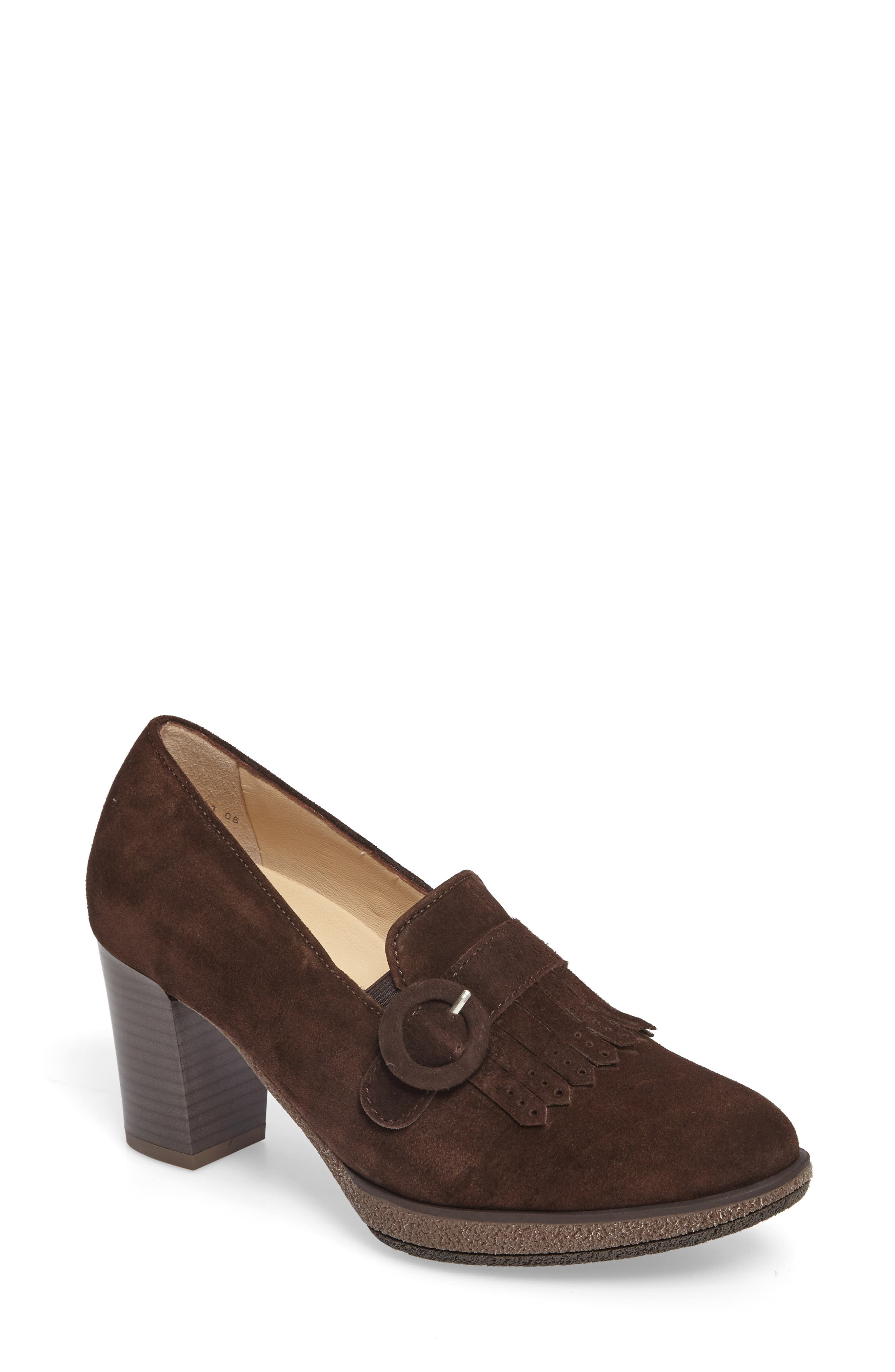 Becky Loafer Pump,                             Main thumbnail 1, color,                             BROWN SUEDE