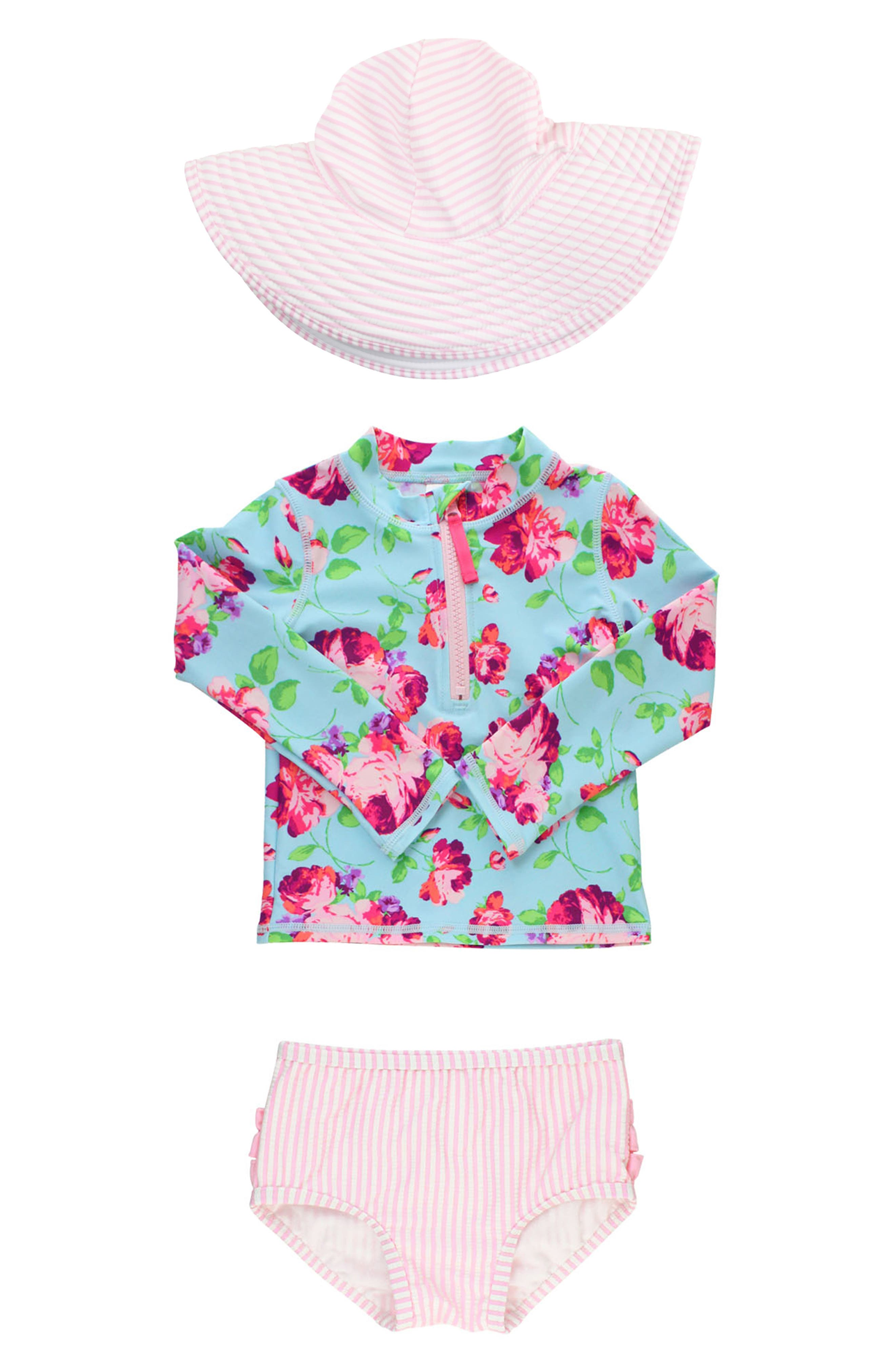 Infant Girls Rufflebutts Life Is Rosy TwoPiece Rashguard Swimsuit  Sun Hat Set Size 1218M  Pink