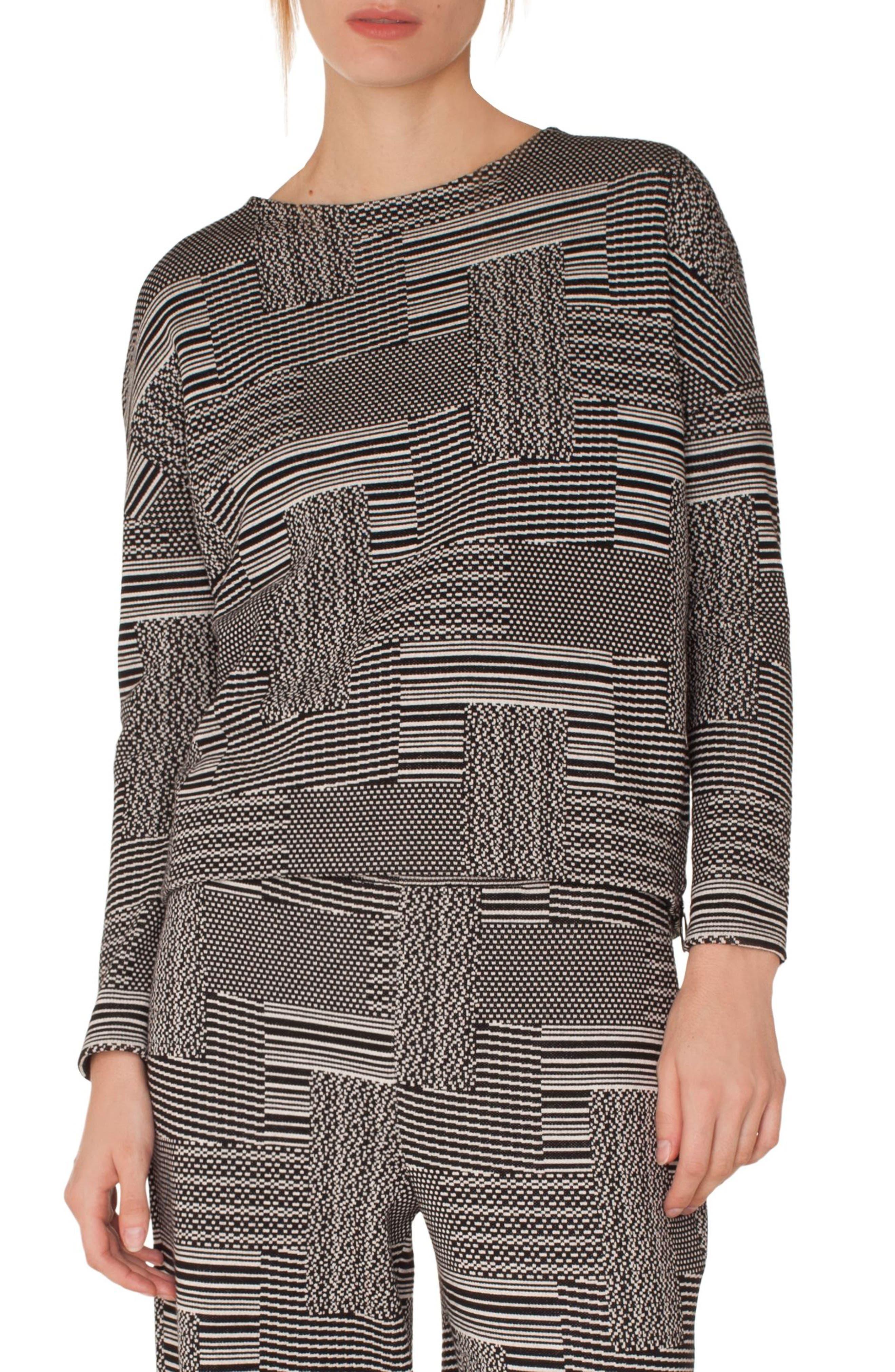 Wool & Cotton Patchwork Jacquard Top,                         Main,                         color, BLACK-CREAM