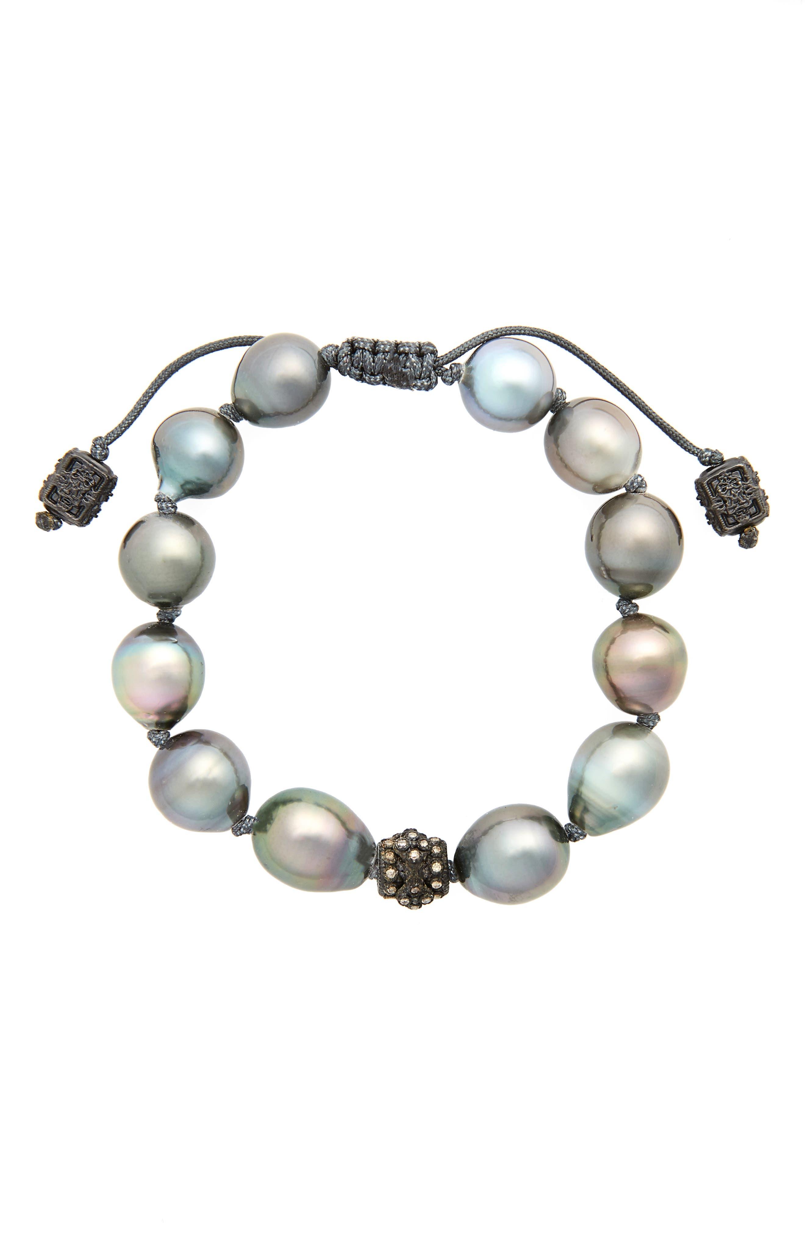 Old World Pearl & Diamond Bracelet,                             Main thumbnail 1, color,                             GOLD