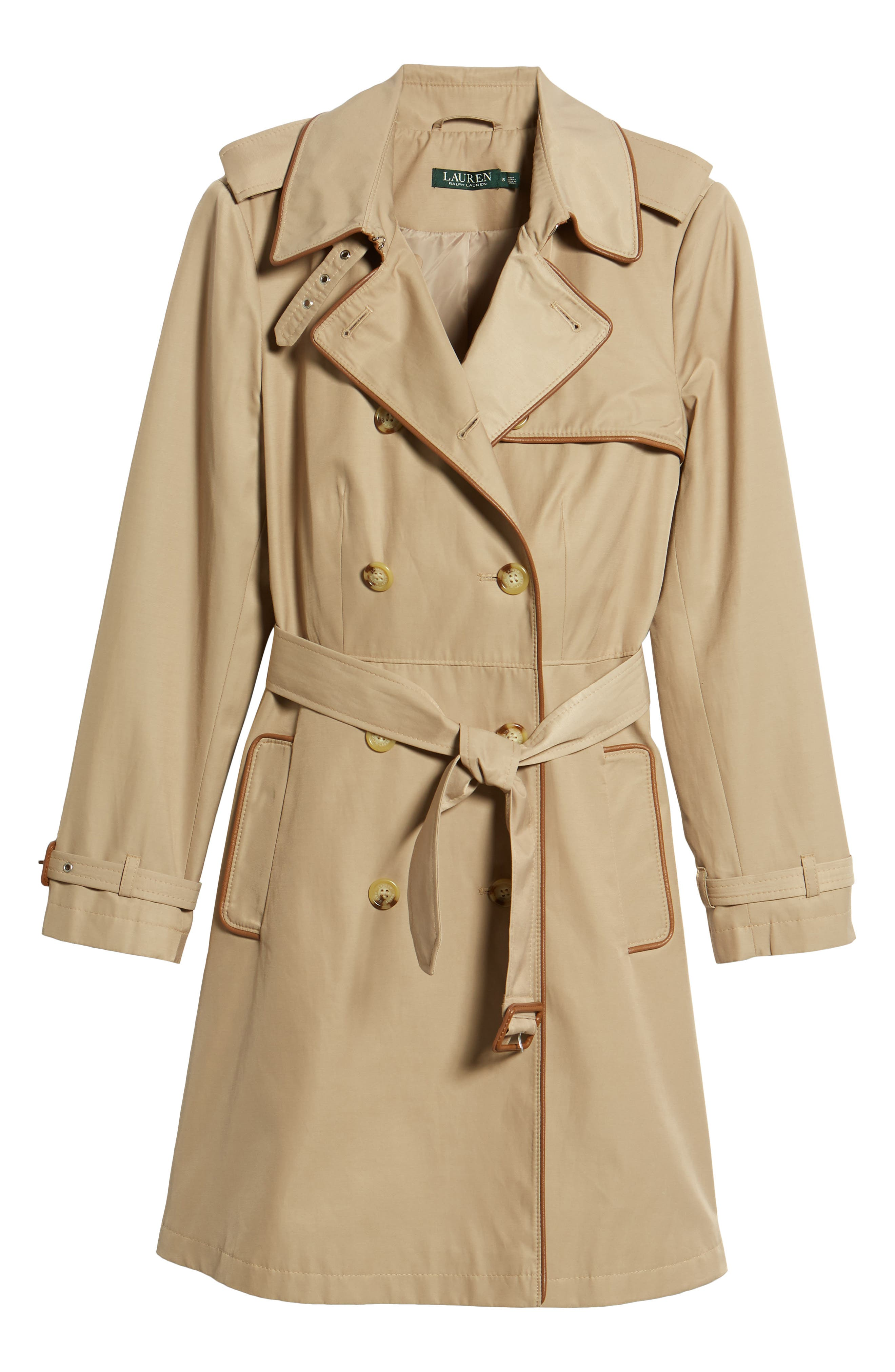 Faux Leather Trim Trench Coat,                             Alternate thumbnail 5, color,                             262