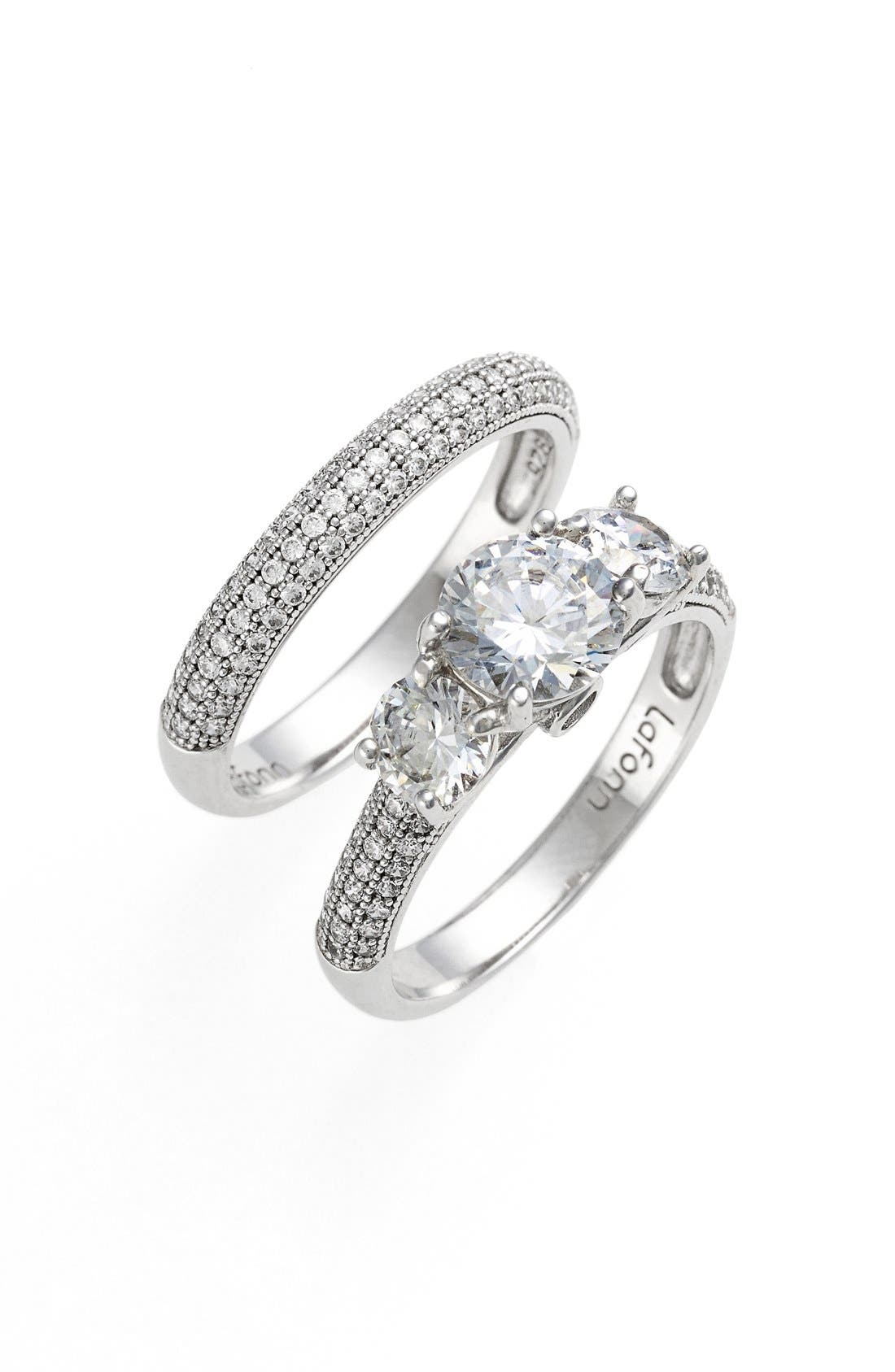'Lassaire'EngagementRing and Band,                             Main thumbnail 1, color,                             SILVER/ CLEAR