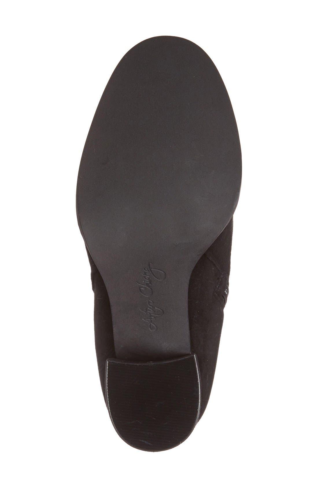 'Rakel' Gathered Heel Zip Bootie,                             Alternate thumbnail 4, color,                             001