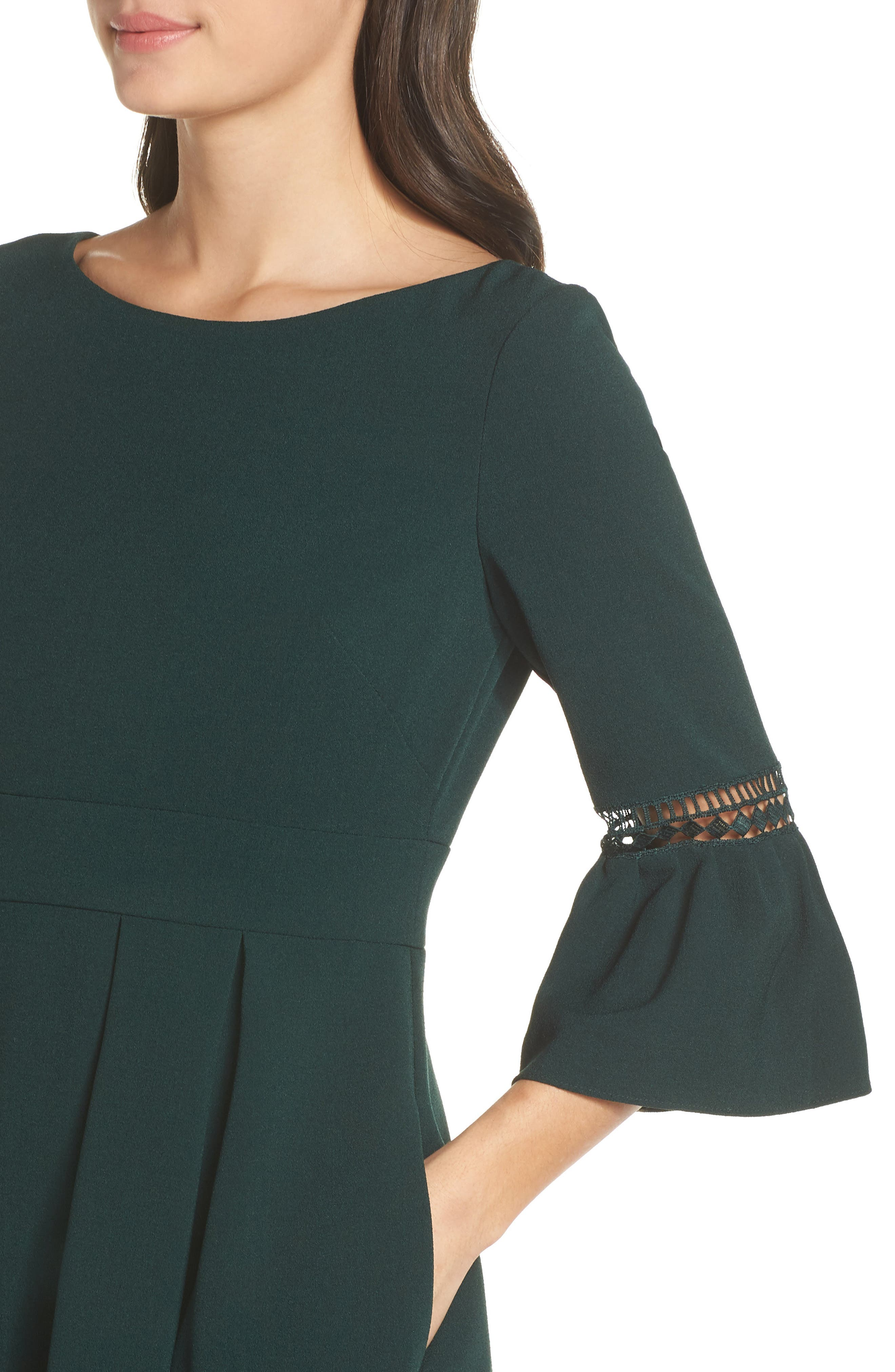 ELIZA J, Bell Sleeve Fit & Flare Dress, Alternate thumbnail 5, color, PINE
