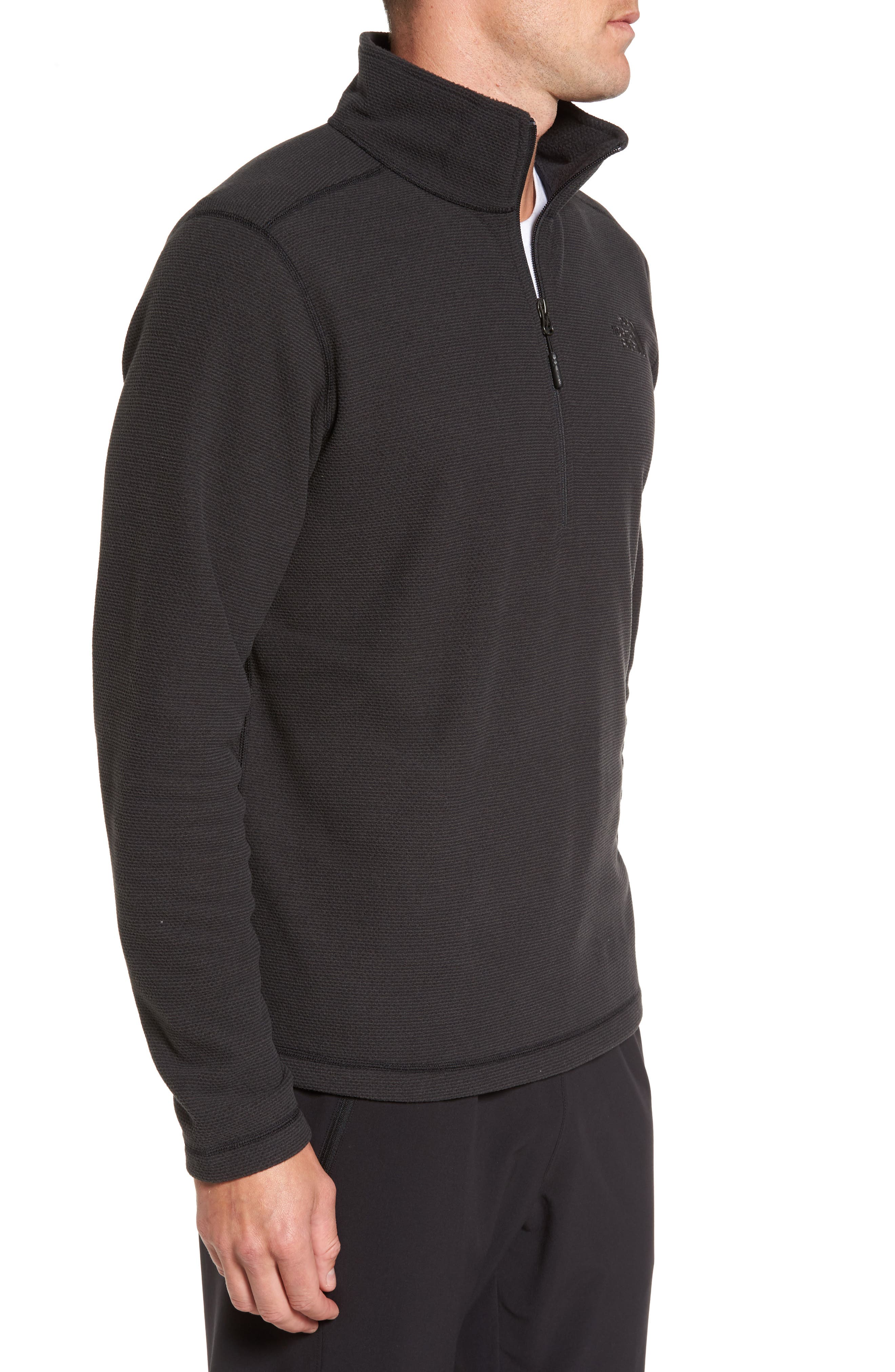 Texture Cap Rock Quarter Zip Fleece Jacket,                             Alternate thumbnail 3, color,                             TNF BLACK