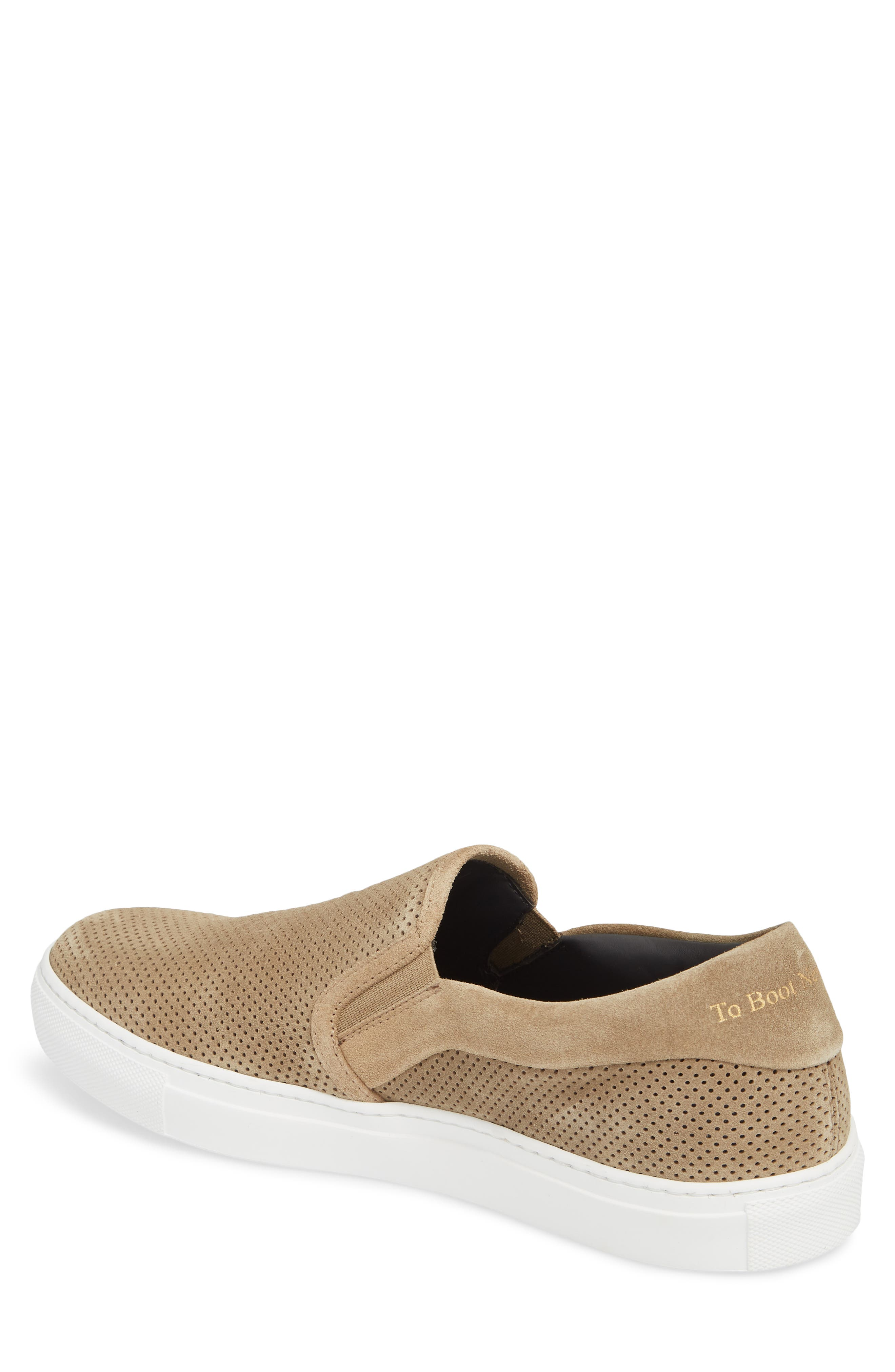 Buelton Perforated Slip-On Sneaker,                             Alternate thumbnail 2, color,                             BROWN SUEDE