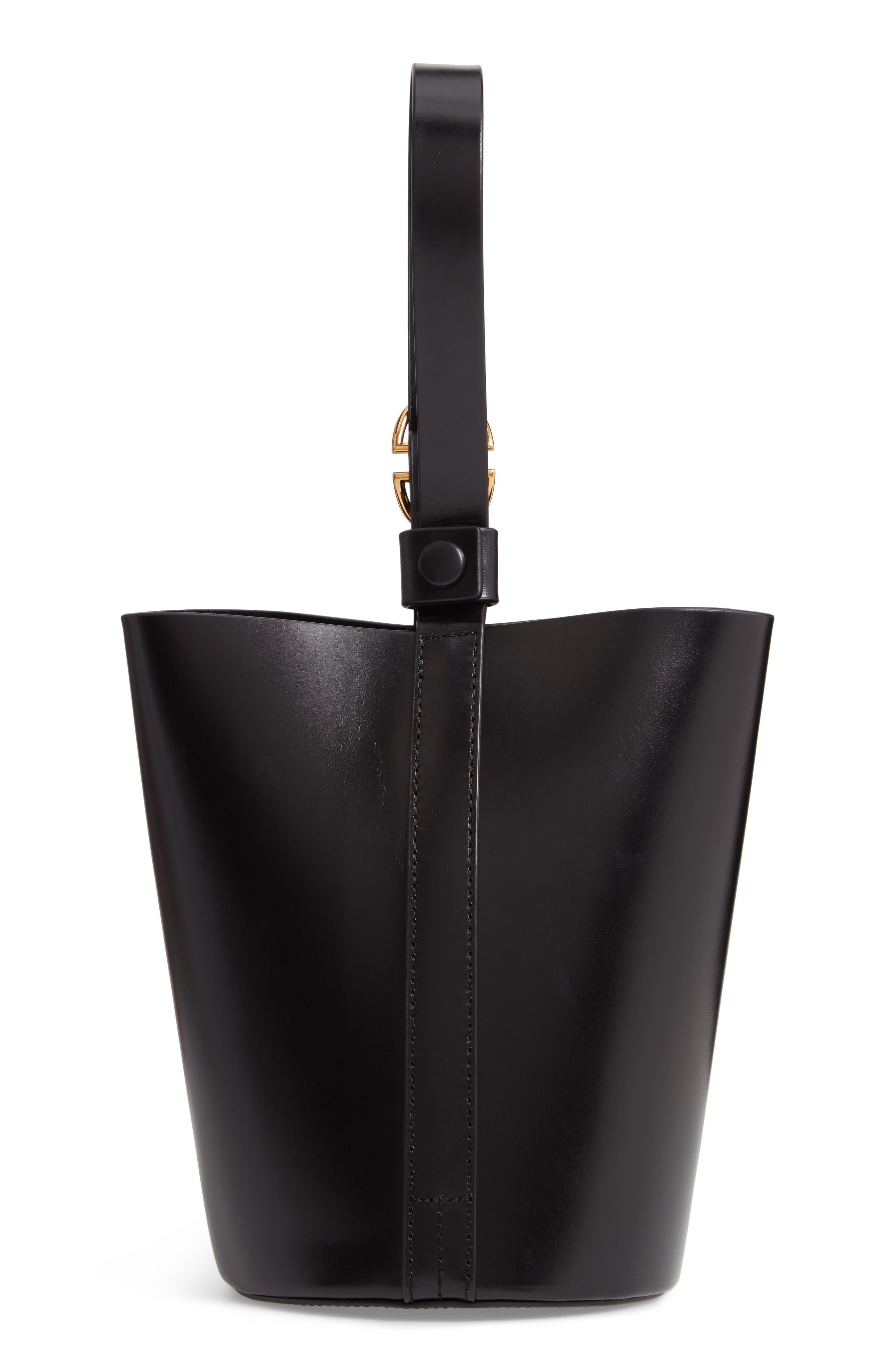 Small Leather Bucket Bag,                             Alternate thumbnail 3, color,                             BLACK