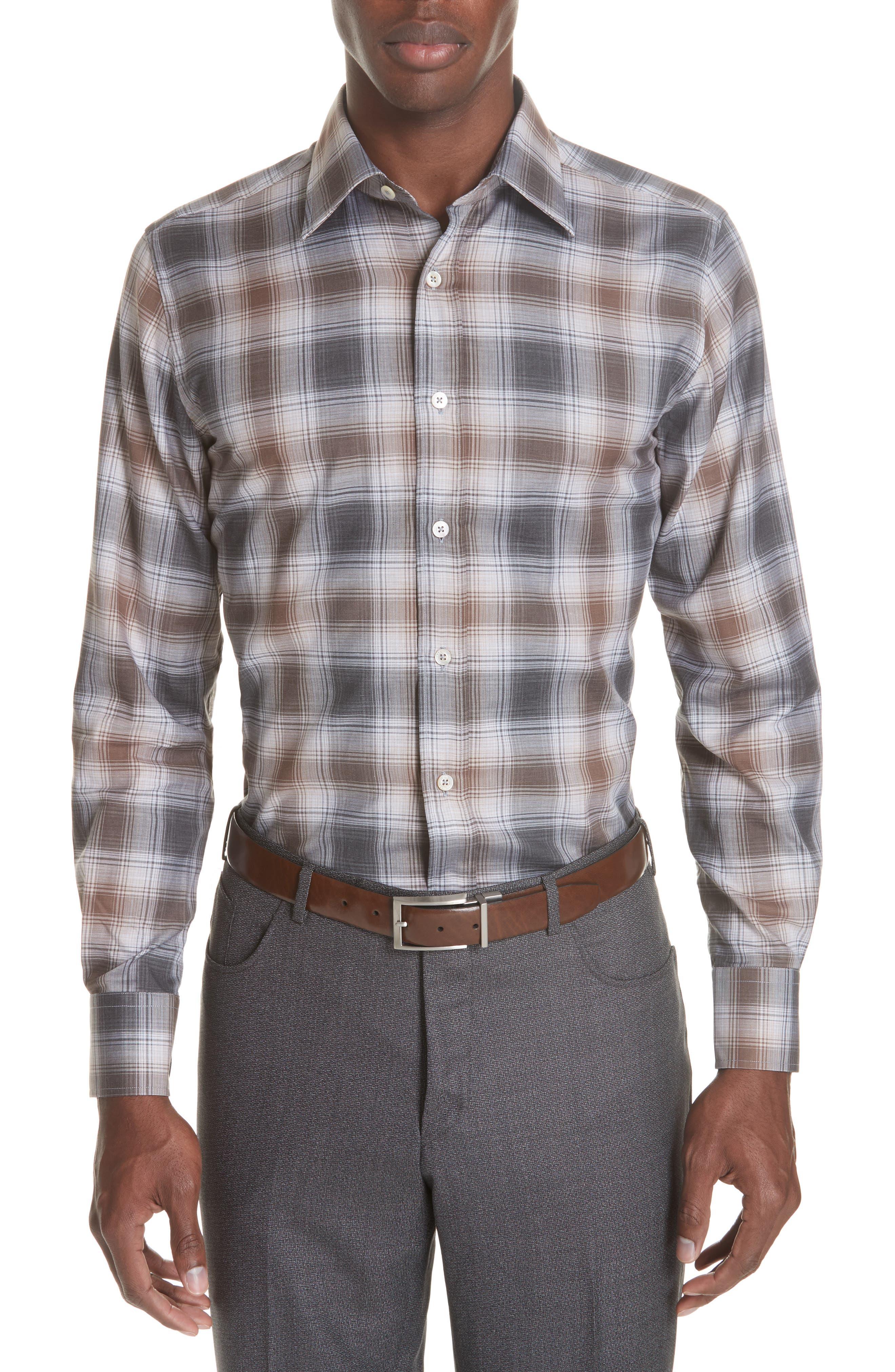 Regular Fit Plaid Dress Shirt,                             Main thumbnail 1, color,                             BROWN