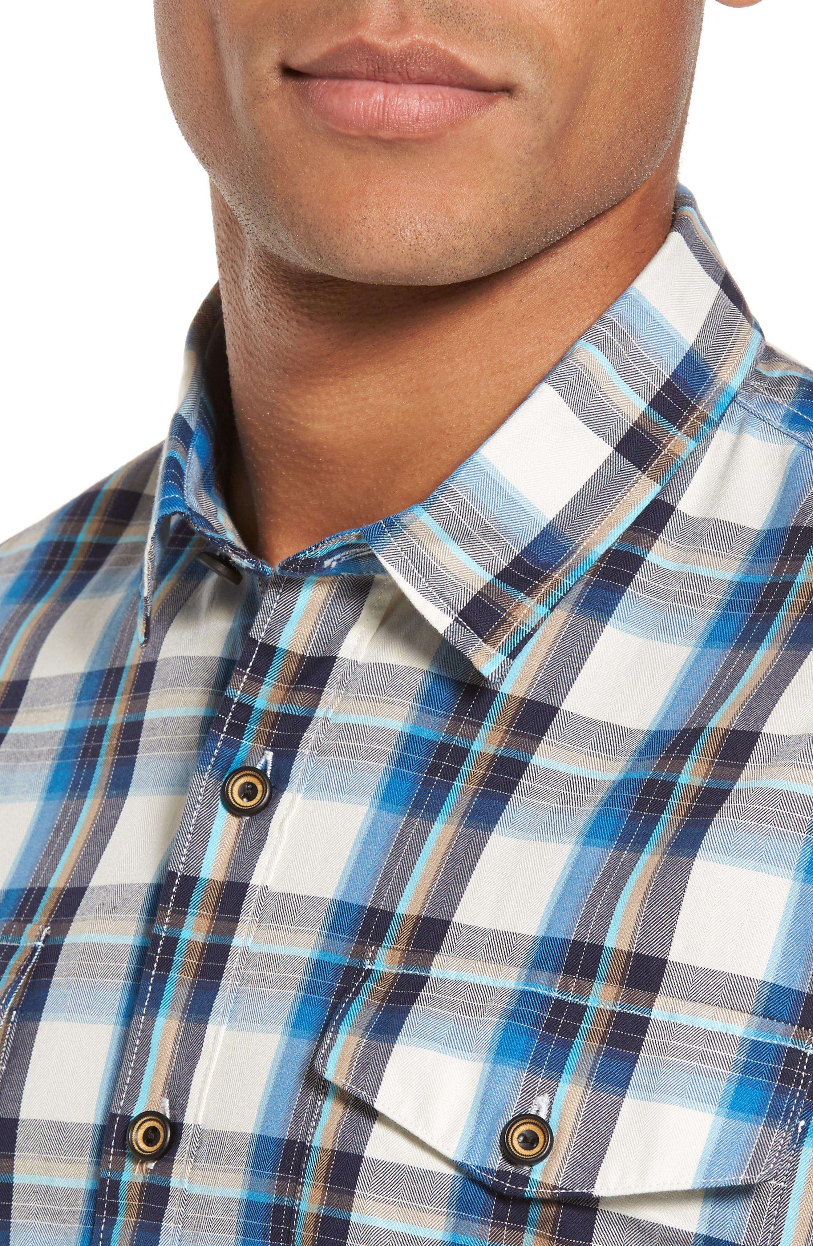 Seacliff Plaid Flannel Shirt,                             Alternate thumbnail 4, color,                             439