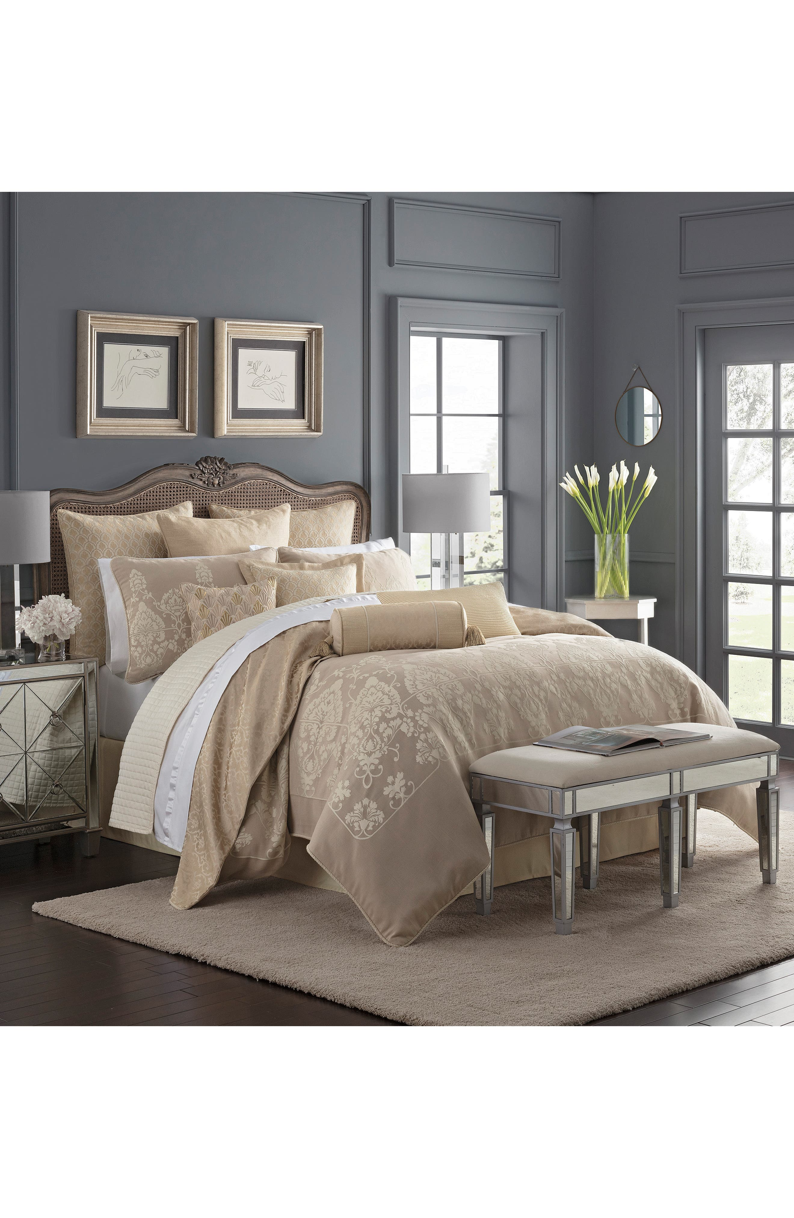WATERFORD,                             Abrielle Reversible Comforter, Sham & Bed Skirt Set,                             Alternate thumbnail 7, color,                             CHAMPAGNE