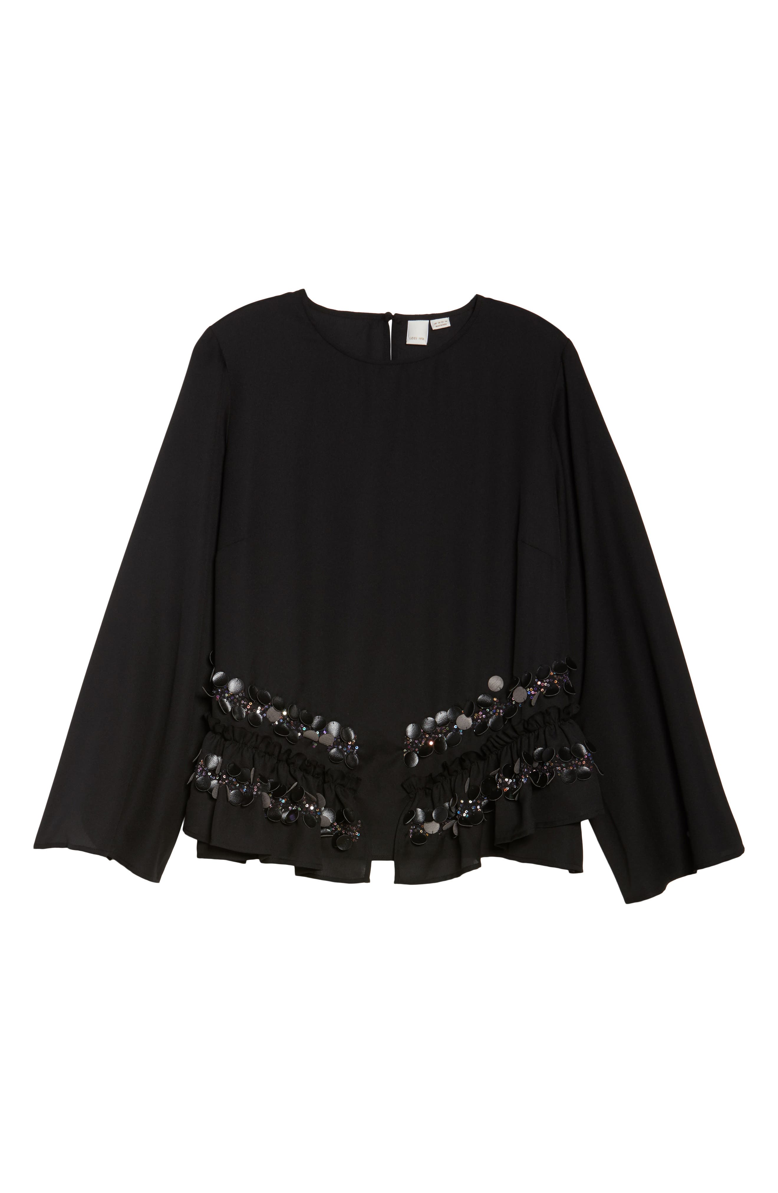 LOST INK,                             Sequin Ruffle Swing Top,                             Alternate thumbnail 6, color,                             001