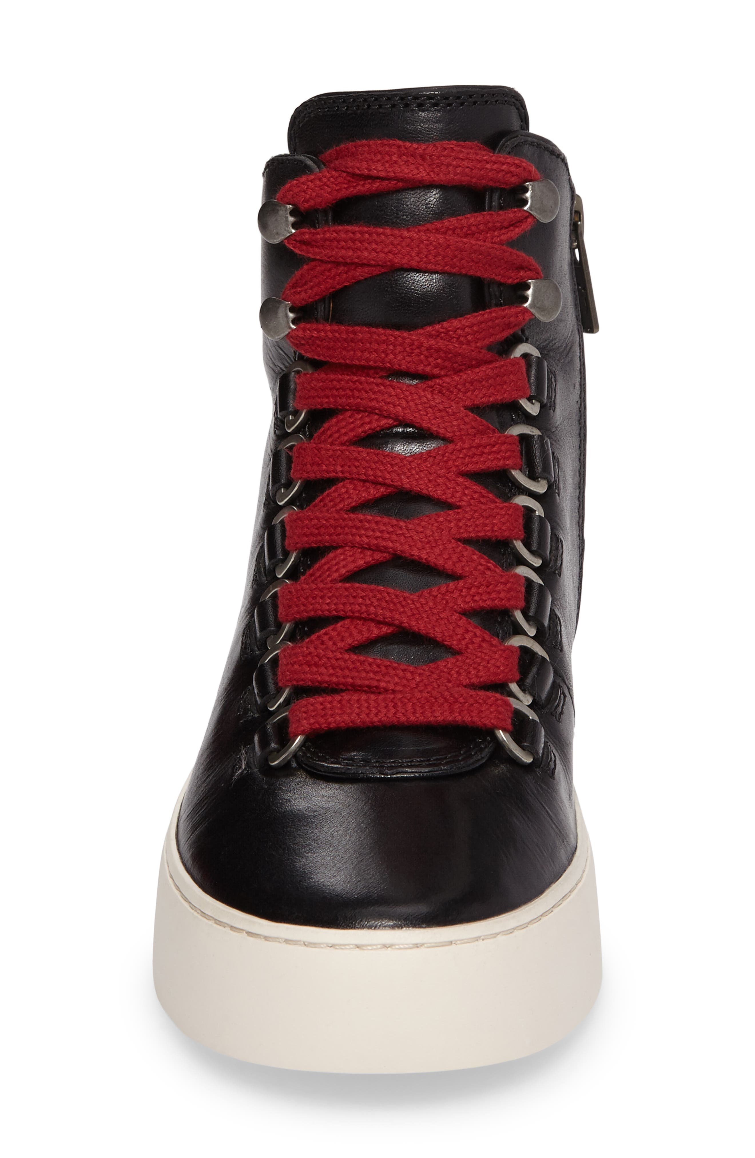 Lena Hiker High Top Sneaker,                             Alternate thumbnail 4, color,                             001