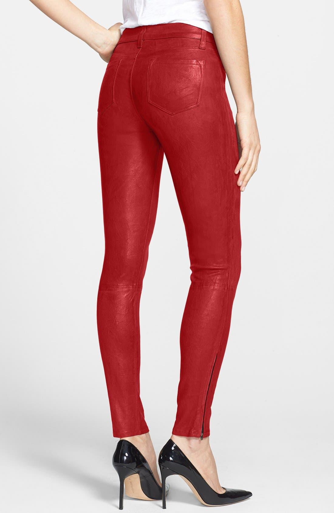 '8001' Lambskin Leather Pants,                             Alternate thumbnail 42, color,